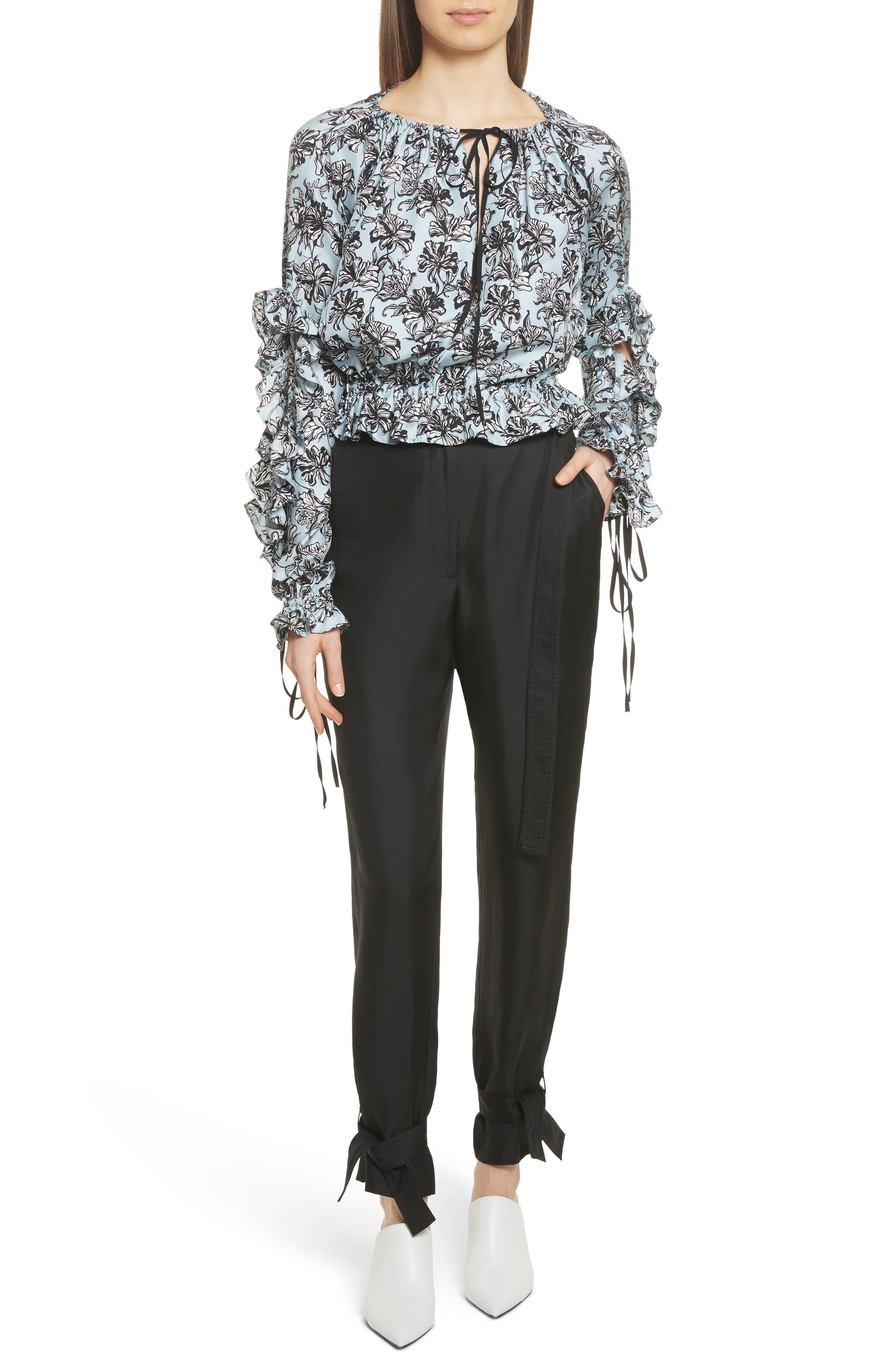 Tie Cuff Silk Pants,                             Alternate thumbnail 2, color,                             Black