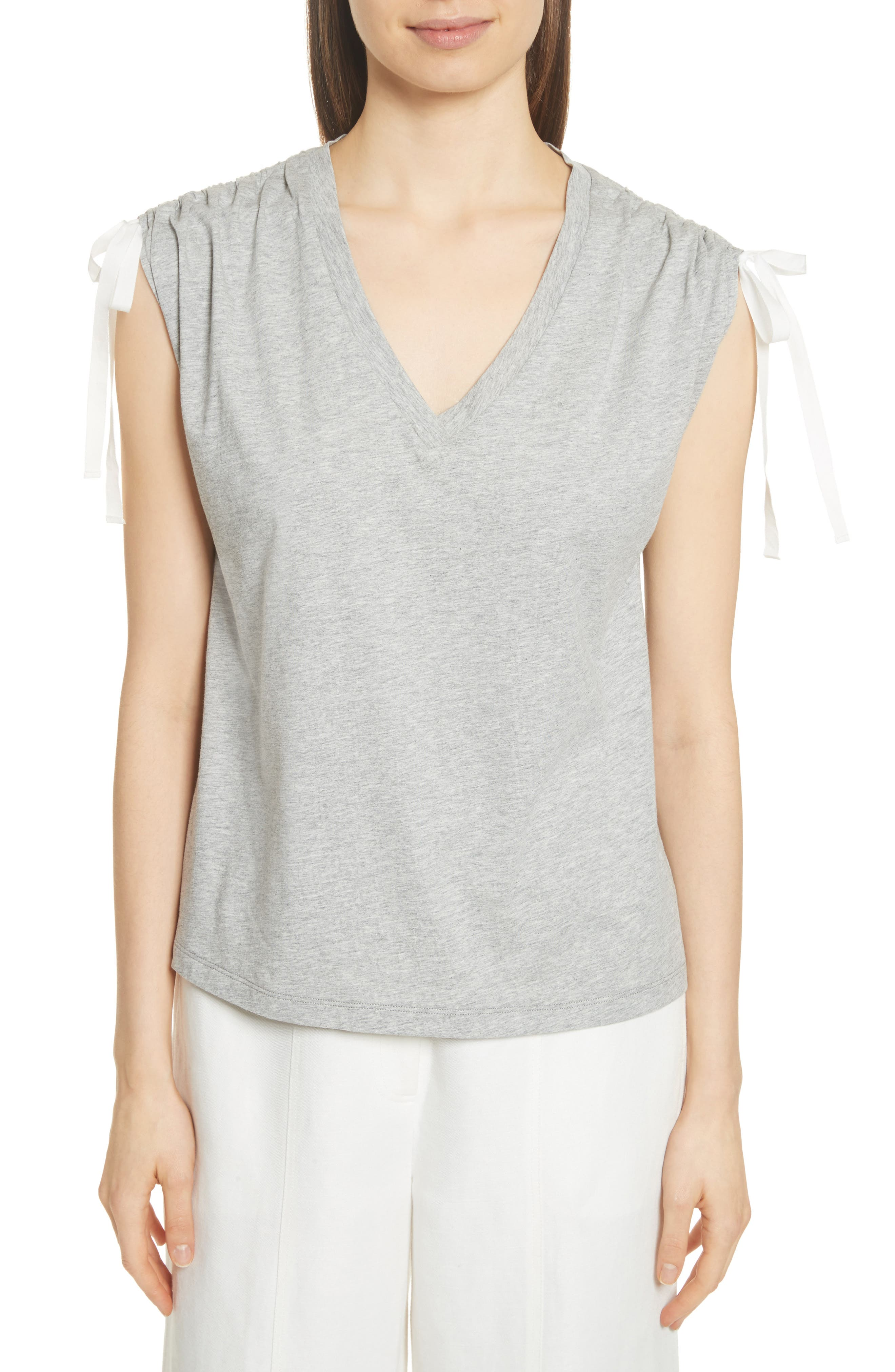 Ruched Shoulder Tee,                         Main,                         color, Heather Grey