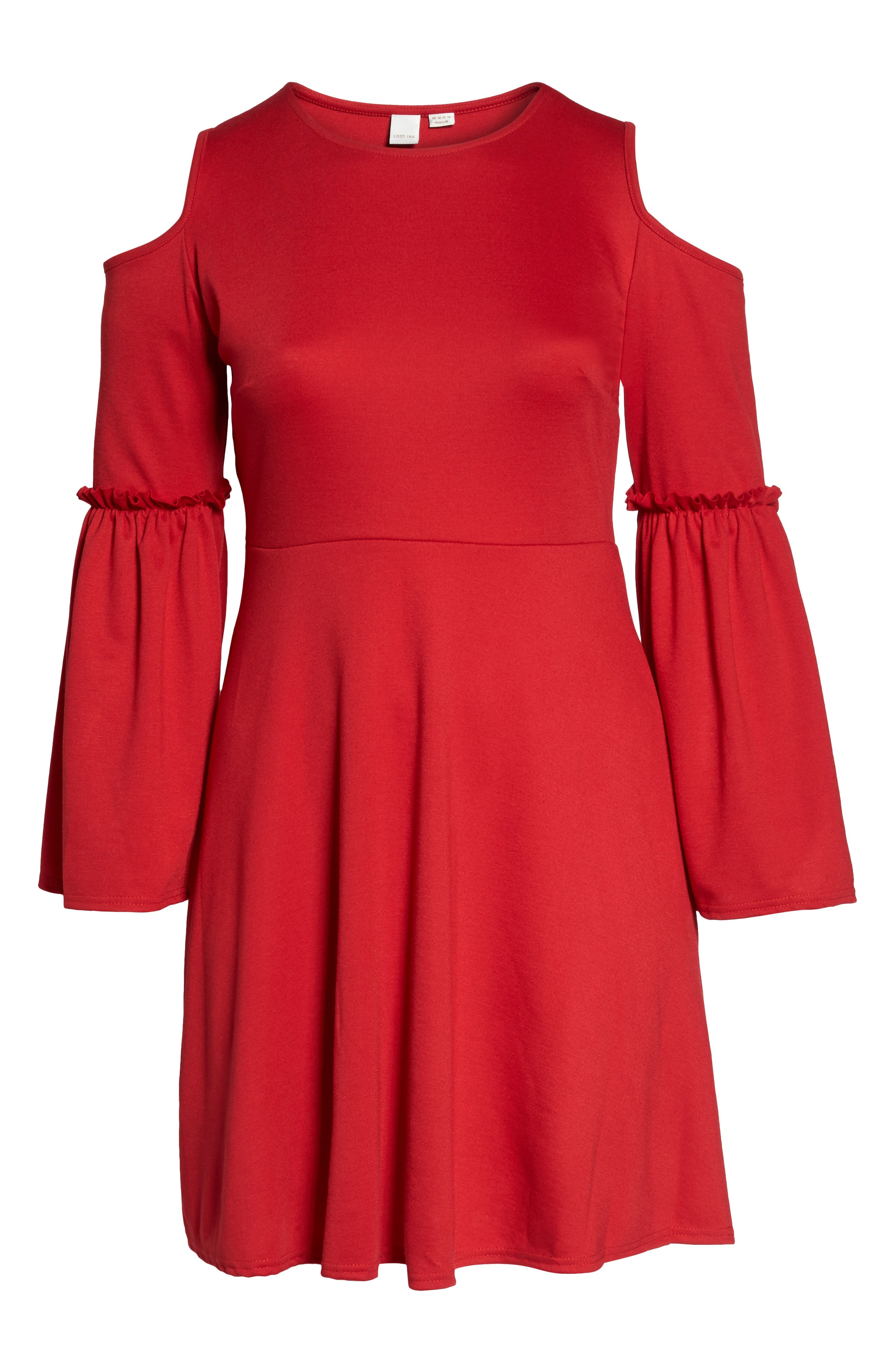 Alternate Image 6  - LOST INK Frill Sleeve Cold Shoulder Skater Dress (Plus Size)