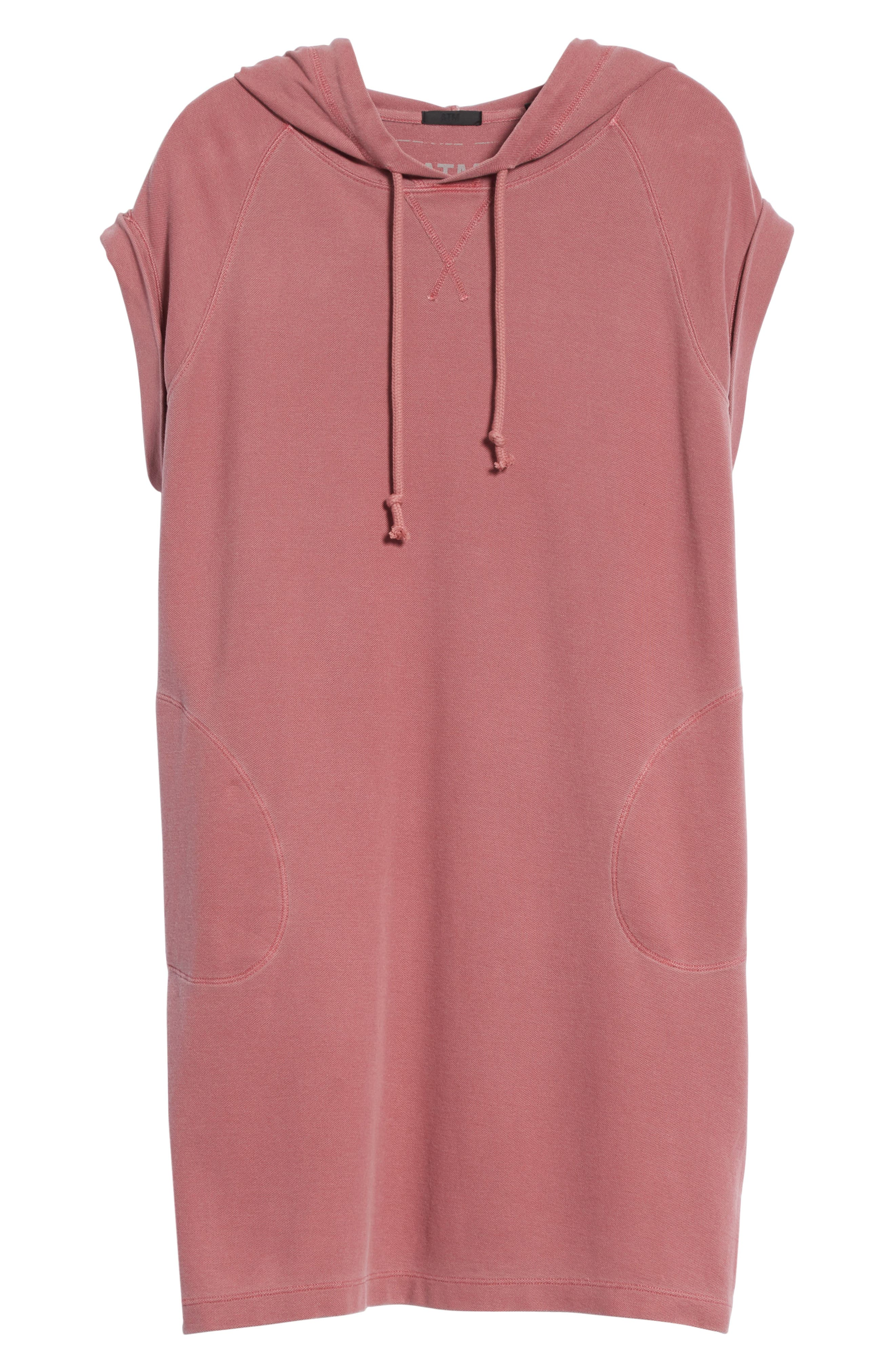 Piqué Hooded Dress,                             Alternate thumbnail 6, color,                             Nantucket Red