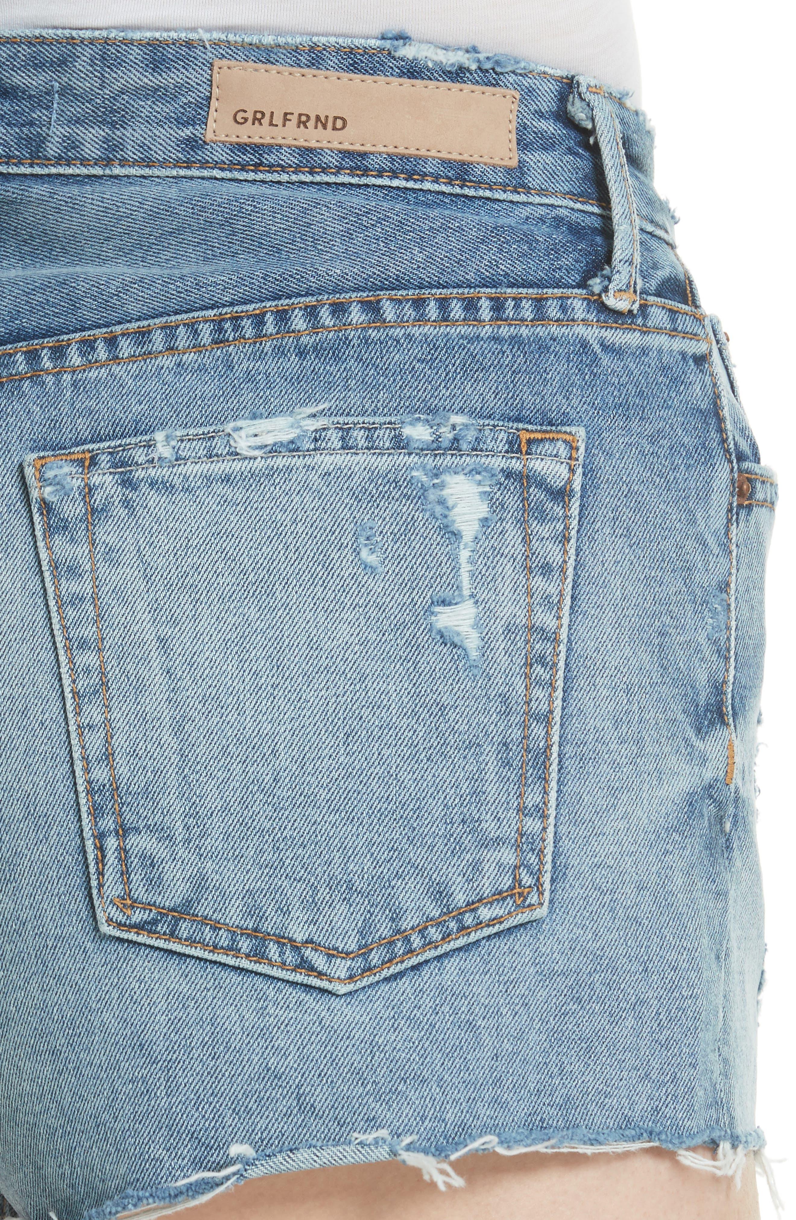 Cindy Rigid High Waist Denim Shorts,                             Alternate thumbnail 4, color,                             Stoned G601