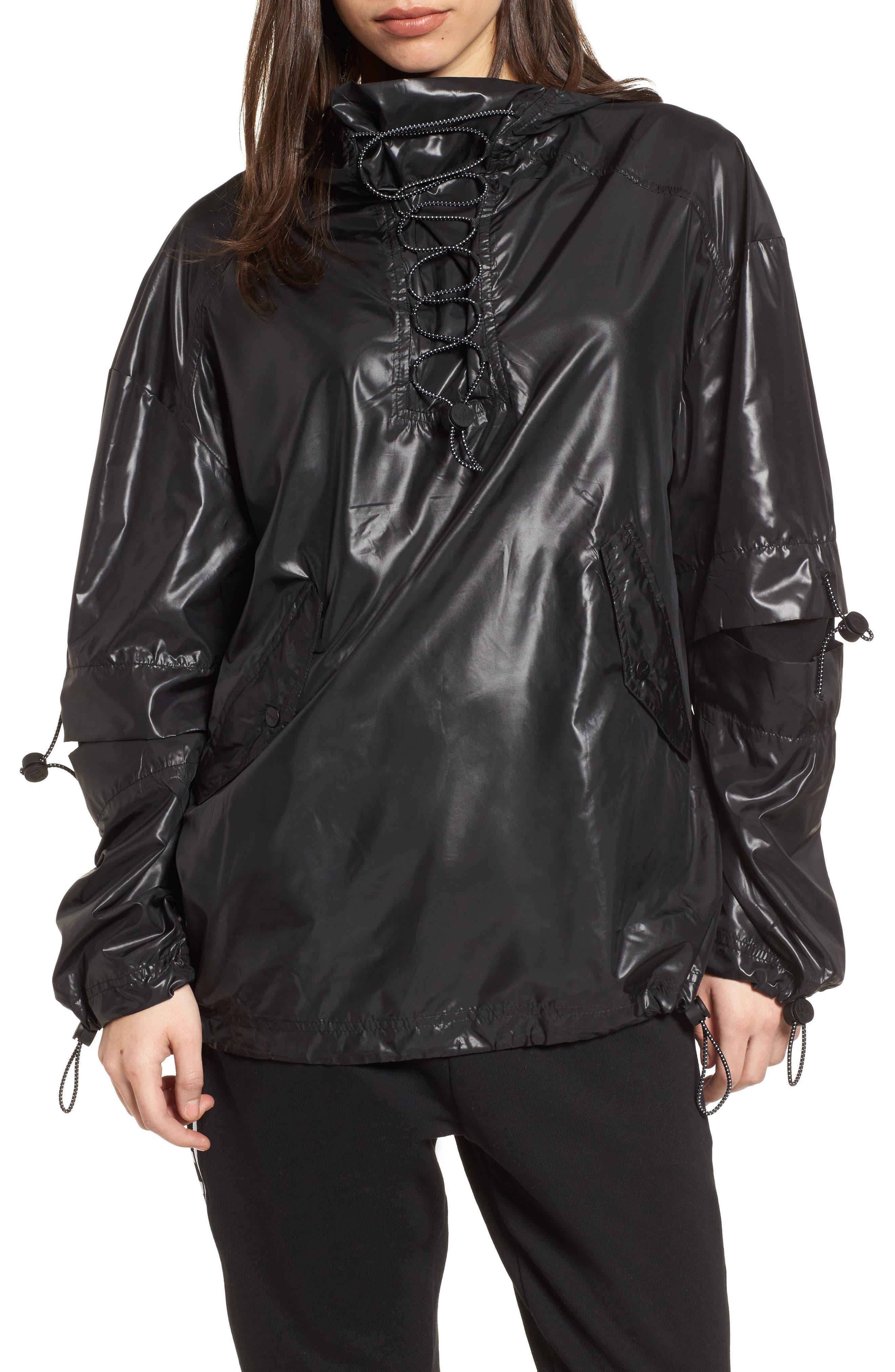 Hi Shine Lace-Up Jacket,                         Main,                         color, Black