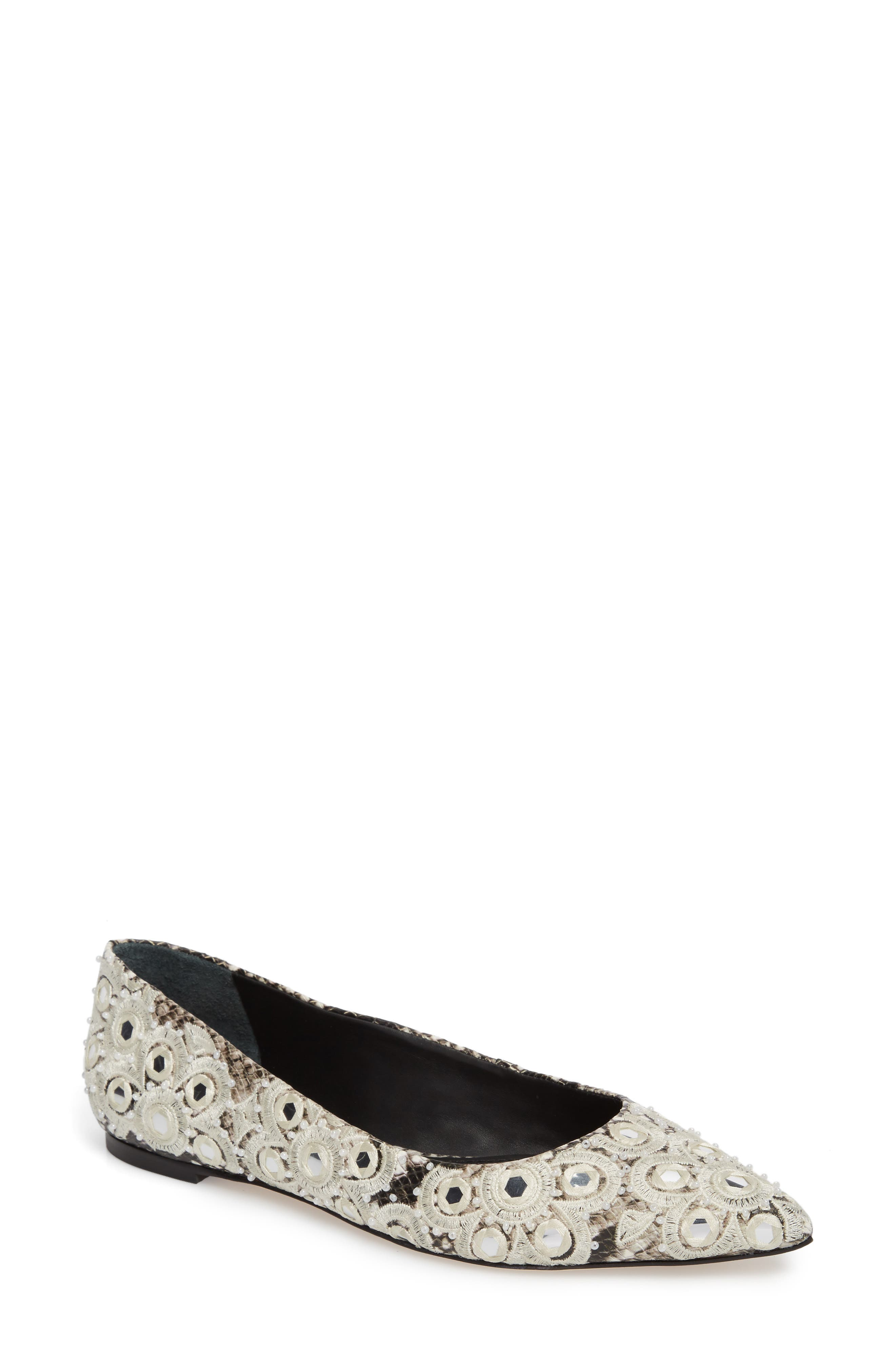 Alternate Image 1 Selected - Tory Burch Yasmin Embroidered Flat (Women)