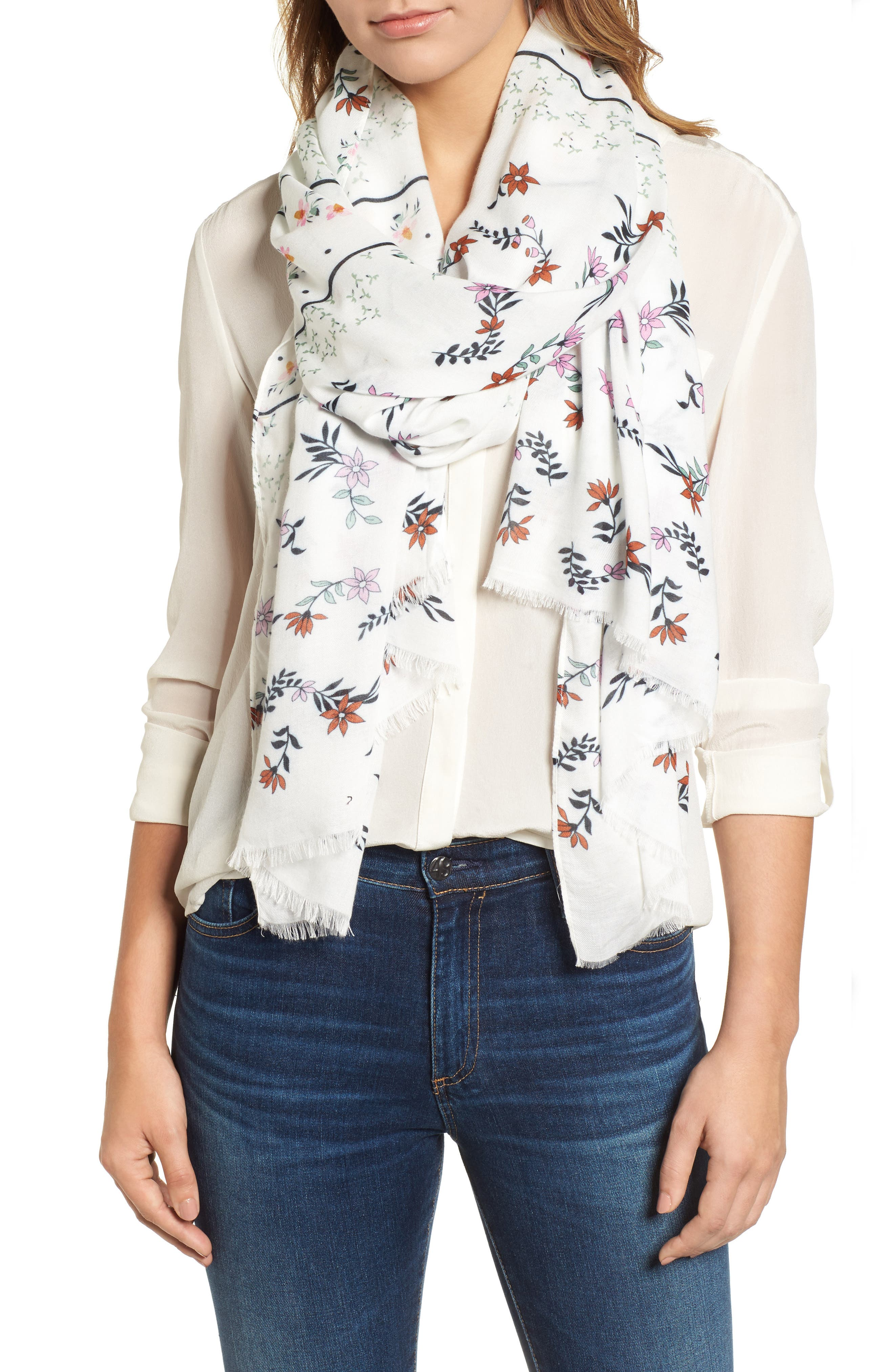 Twilight Floral Scarf,                             Main thumbnail 1, color,                             White