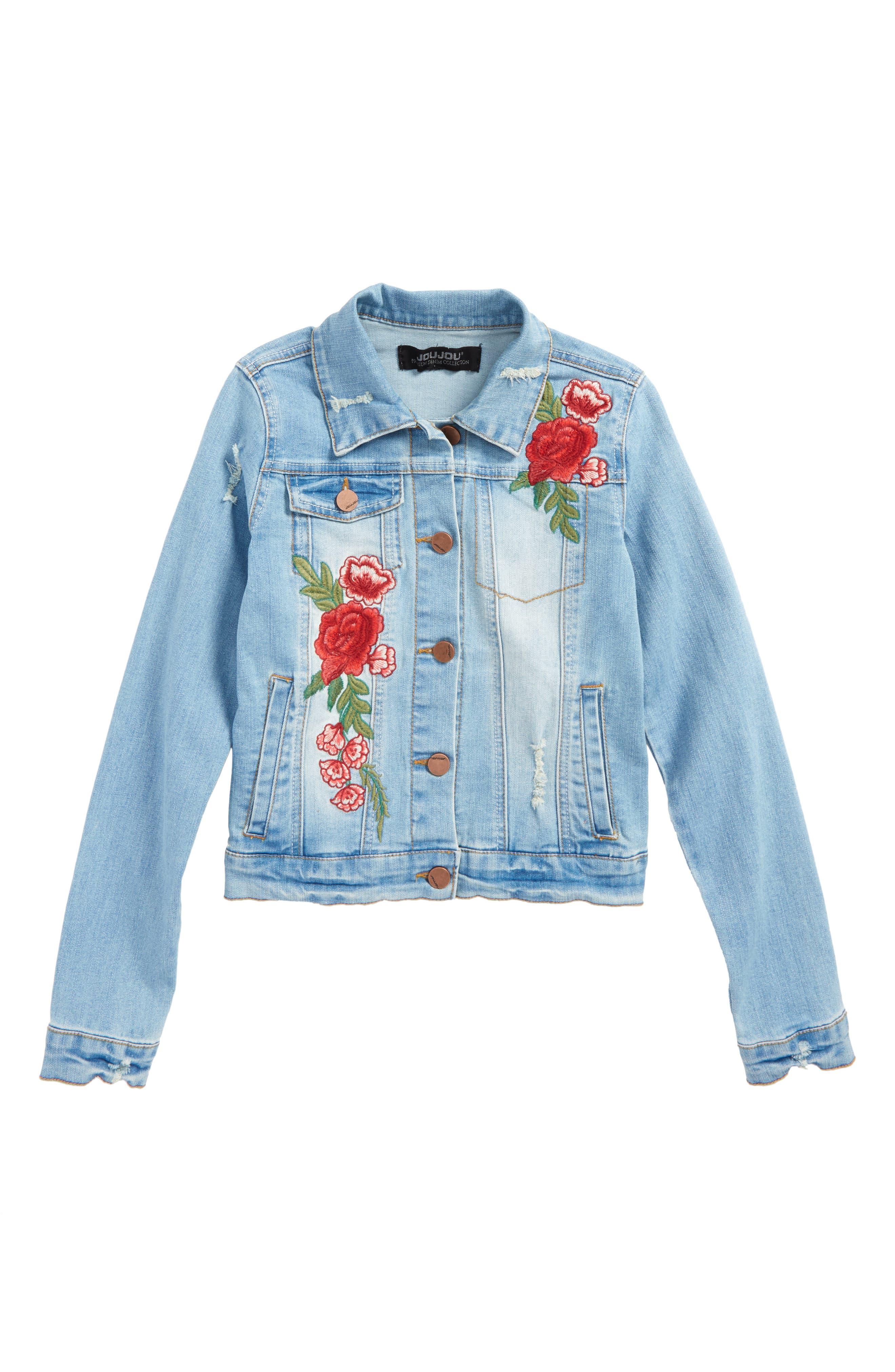 Embroidered Denim Jacket,                         Main,                         color, Medium Wash