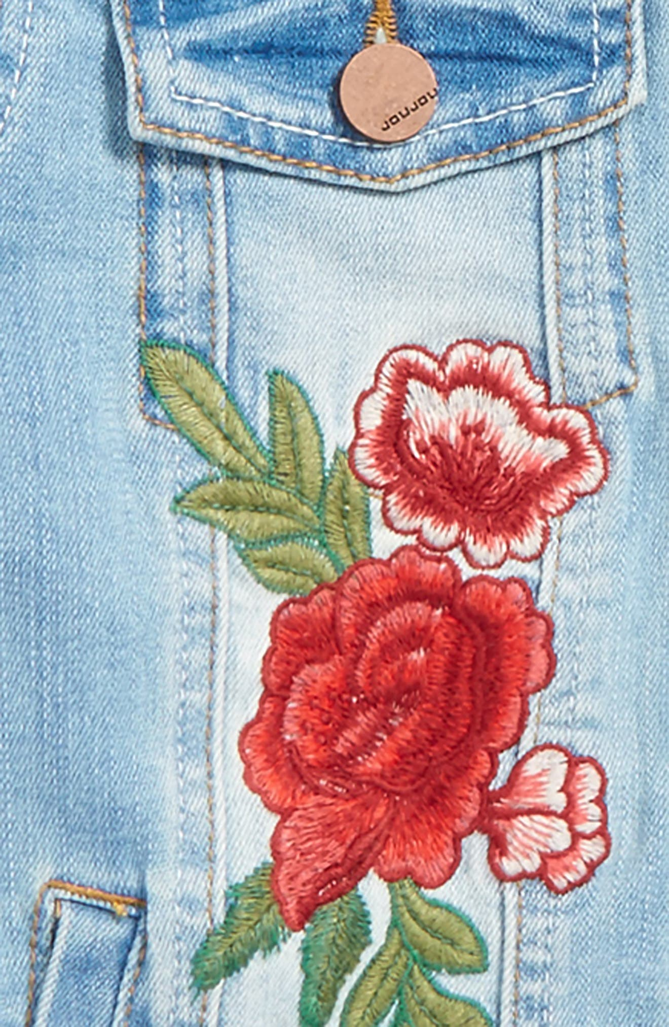 Embroidered Denim Jacket,                             Alternate thumbnail 2, color,                             Medium Wash
