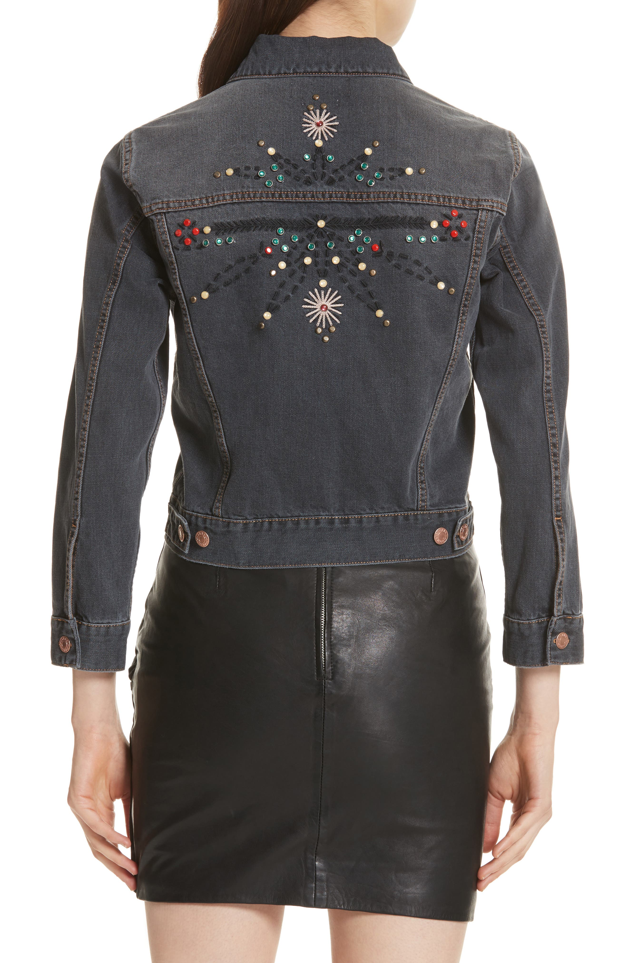 Alternate Image 2  - Isabel Marant Étoile Cabella Embellished Denim Jacket