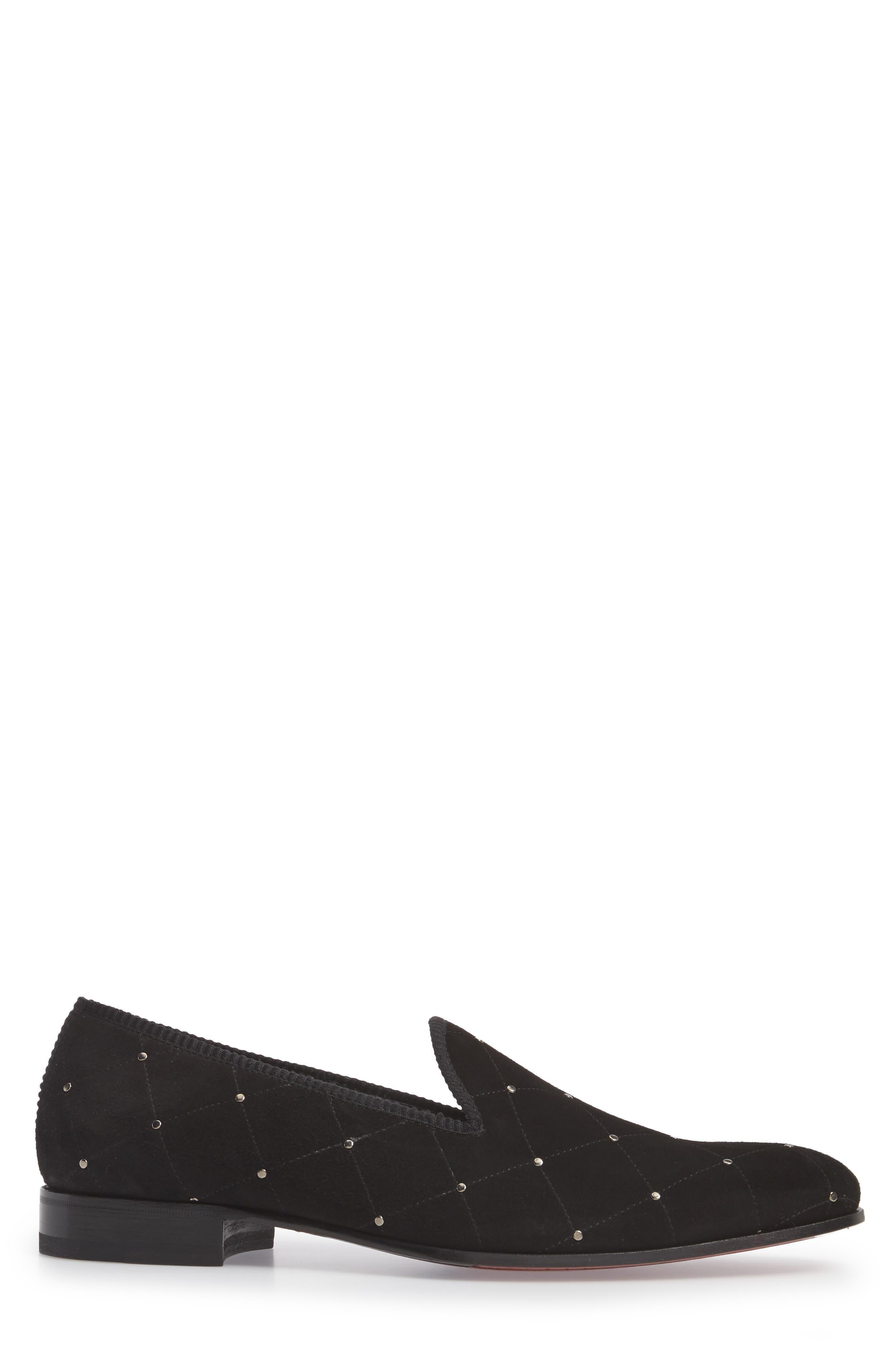 Talo Studded Venetian Loafer,                             Alternate thumbnail 3, color,                             Black Suede