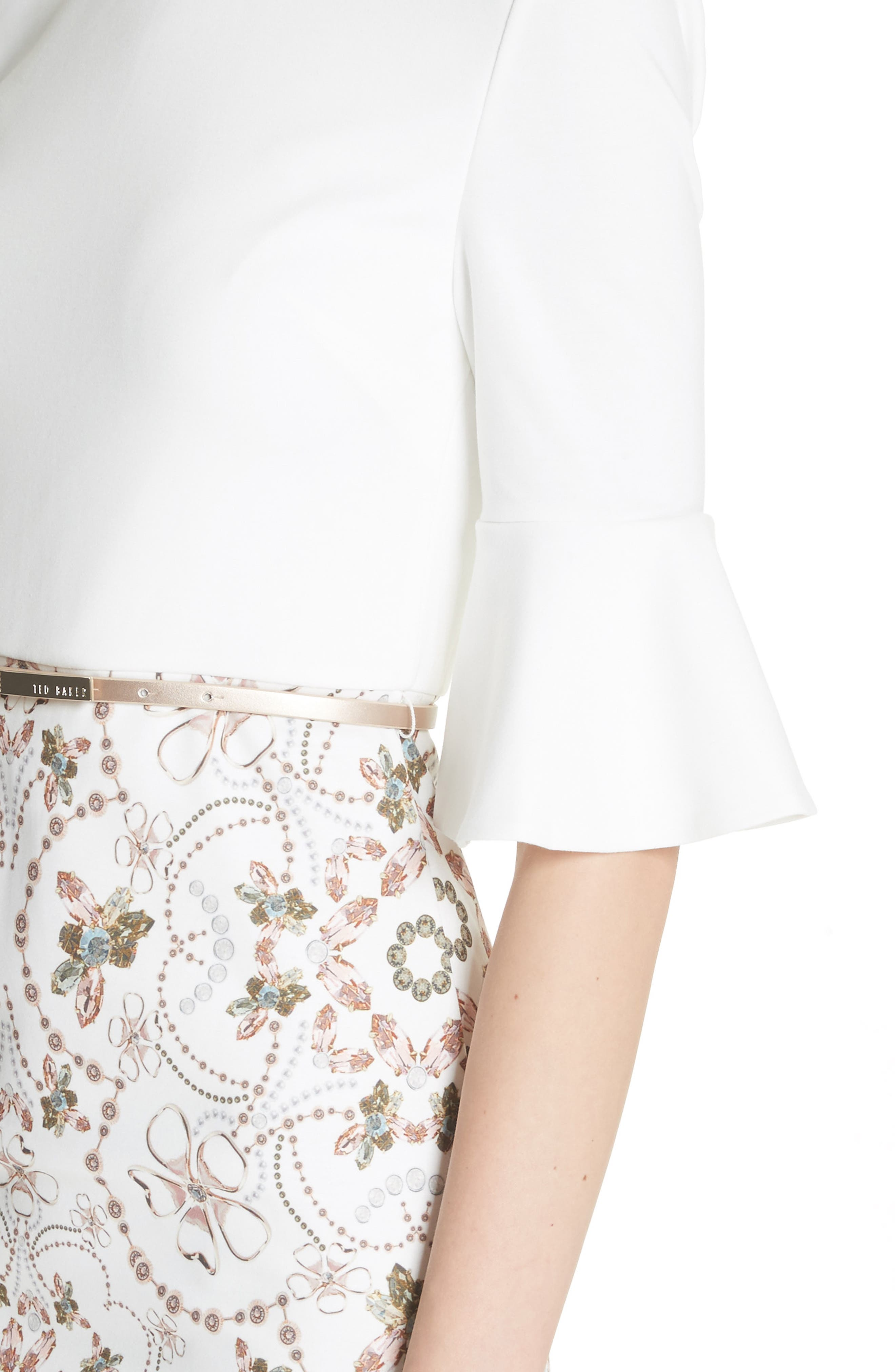 Majestic Contrast Sheath Dress,                             Alternate thumbnail 4, color,                             Ivory