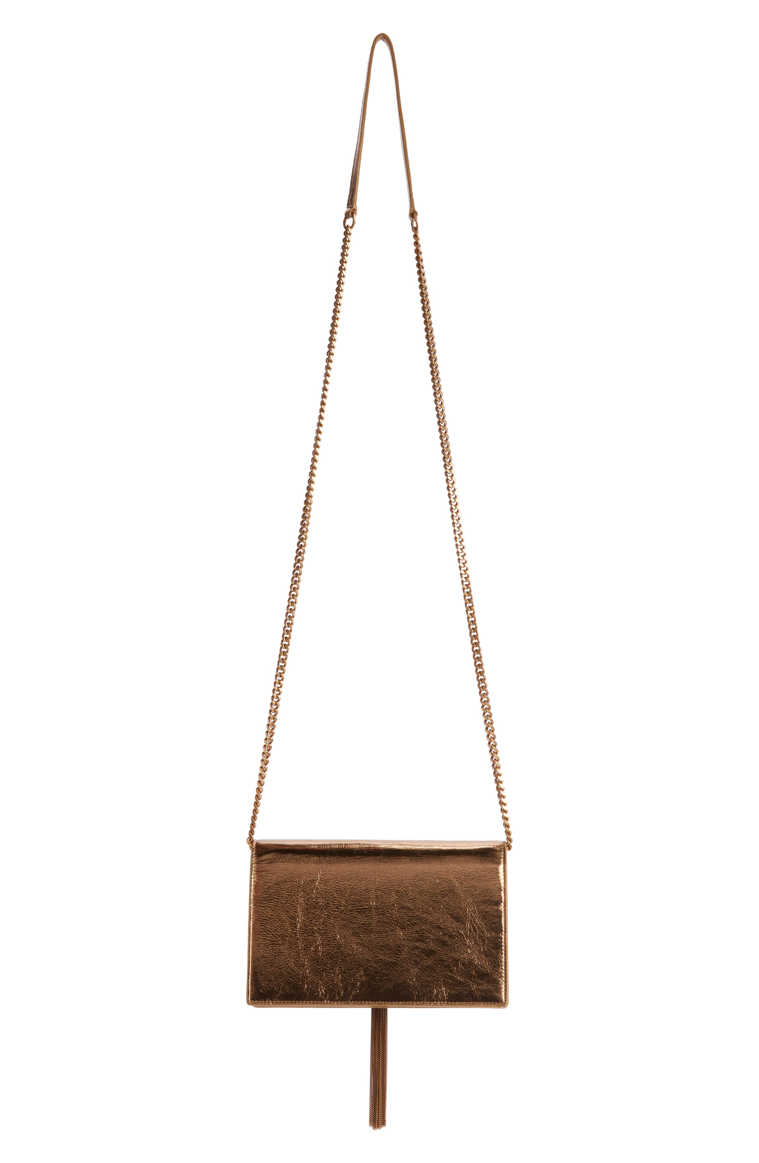 Kate Metallic Leather Wallet on a Chain,                             Alternate thumbnail 2, color,                             Gold