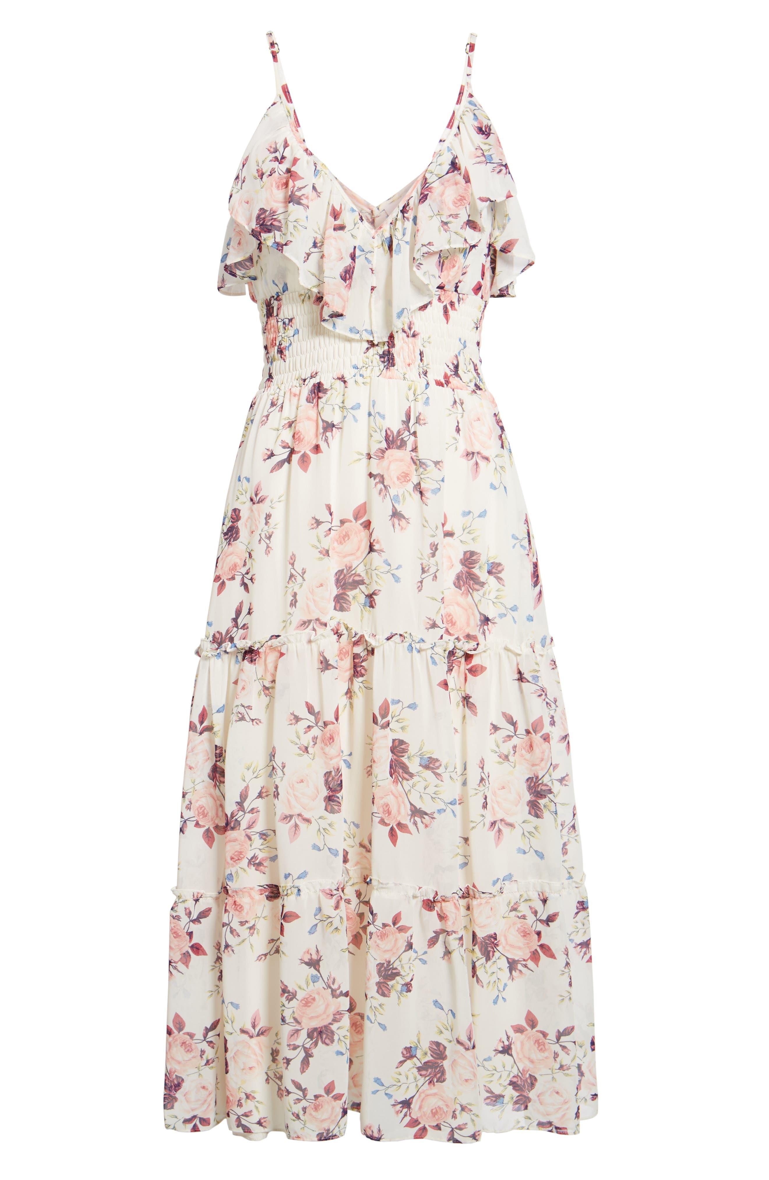 Aviana Midi Dress,                             Alternate thumbnail 6, color,                             White/ Multi Em10