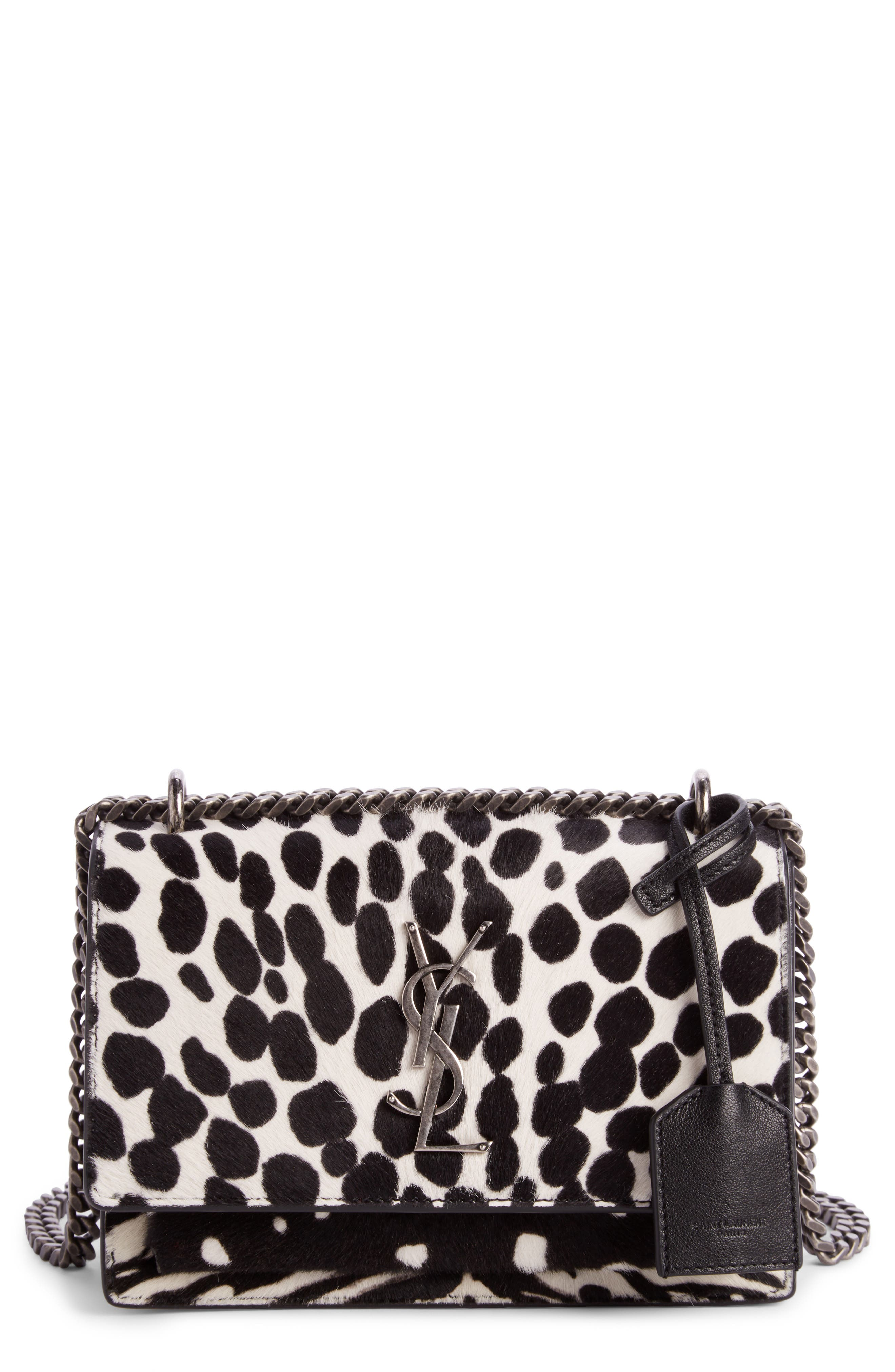 Saint Laurent Mini Sunset Genuine Calf Hair Shoulder Bag