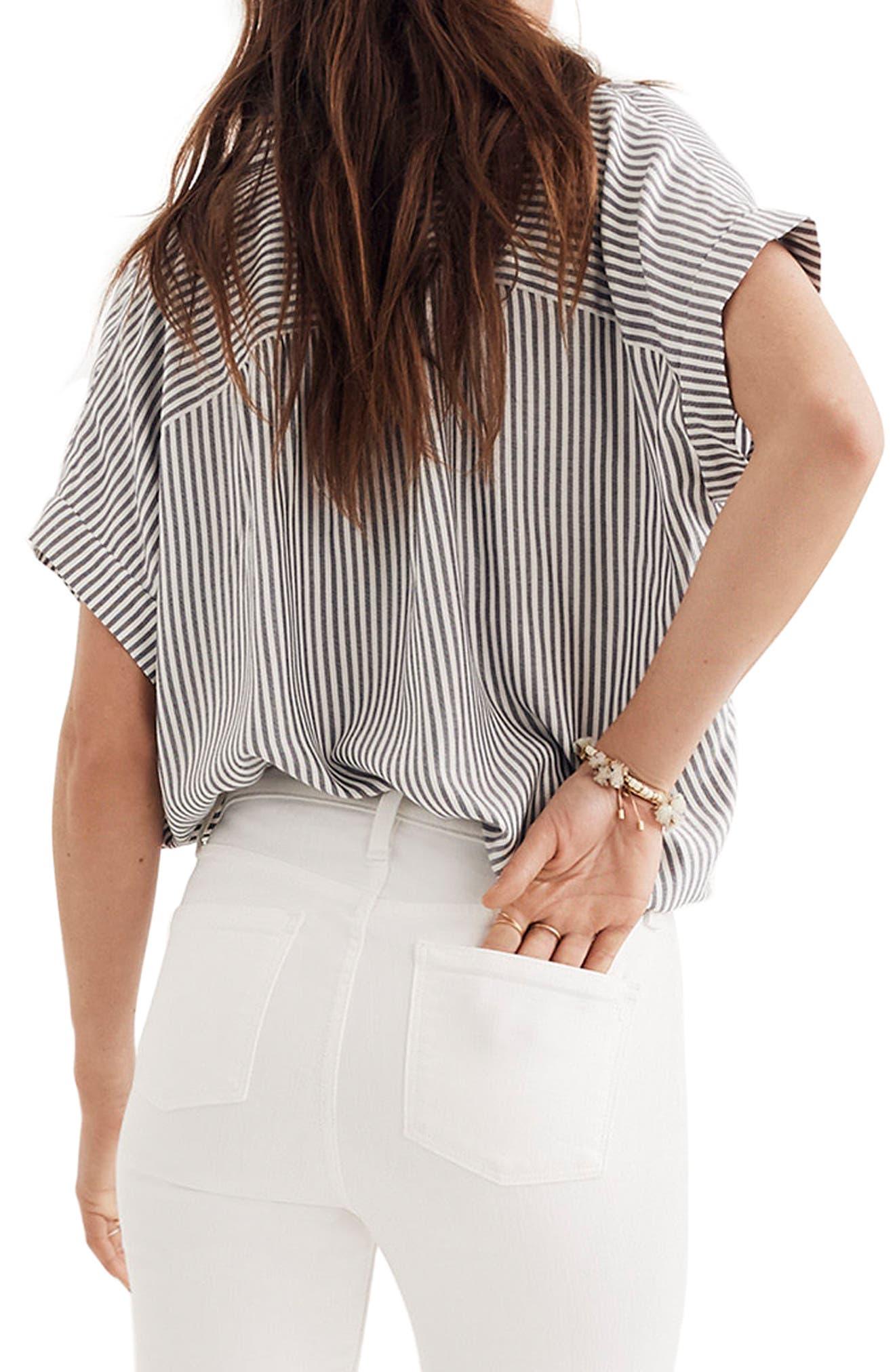 Central Stripe Shirt,                             Alternate thumbnail 2, color,                             Navy/ Ivory Stripe