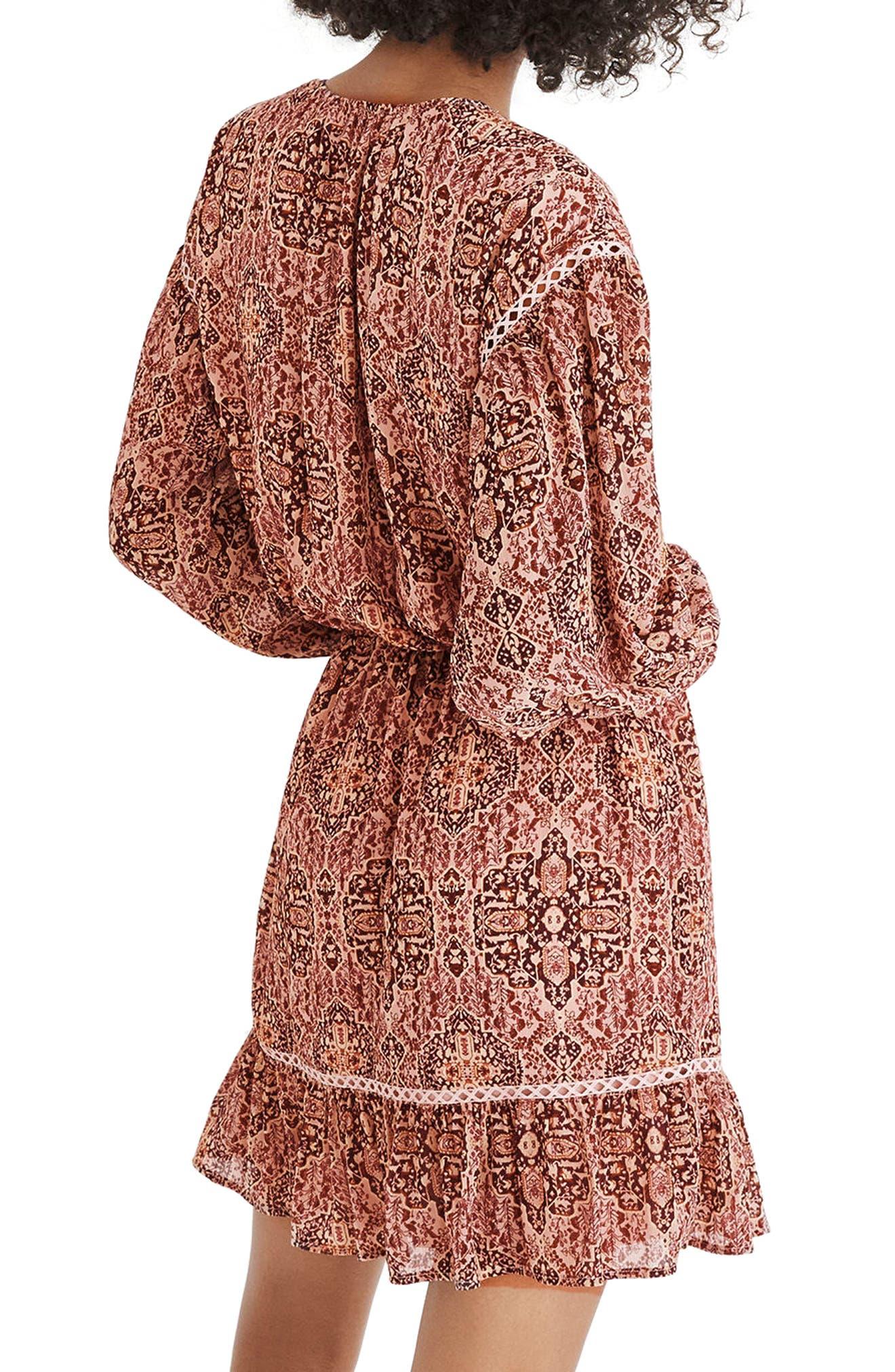 Drawstring Peasant Dress,                             Alternate thumbnail 2, color,                             Gentle Blush