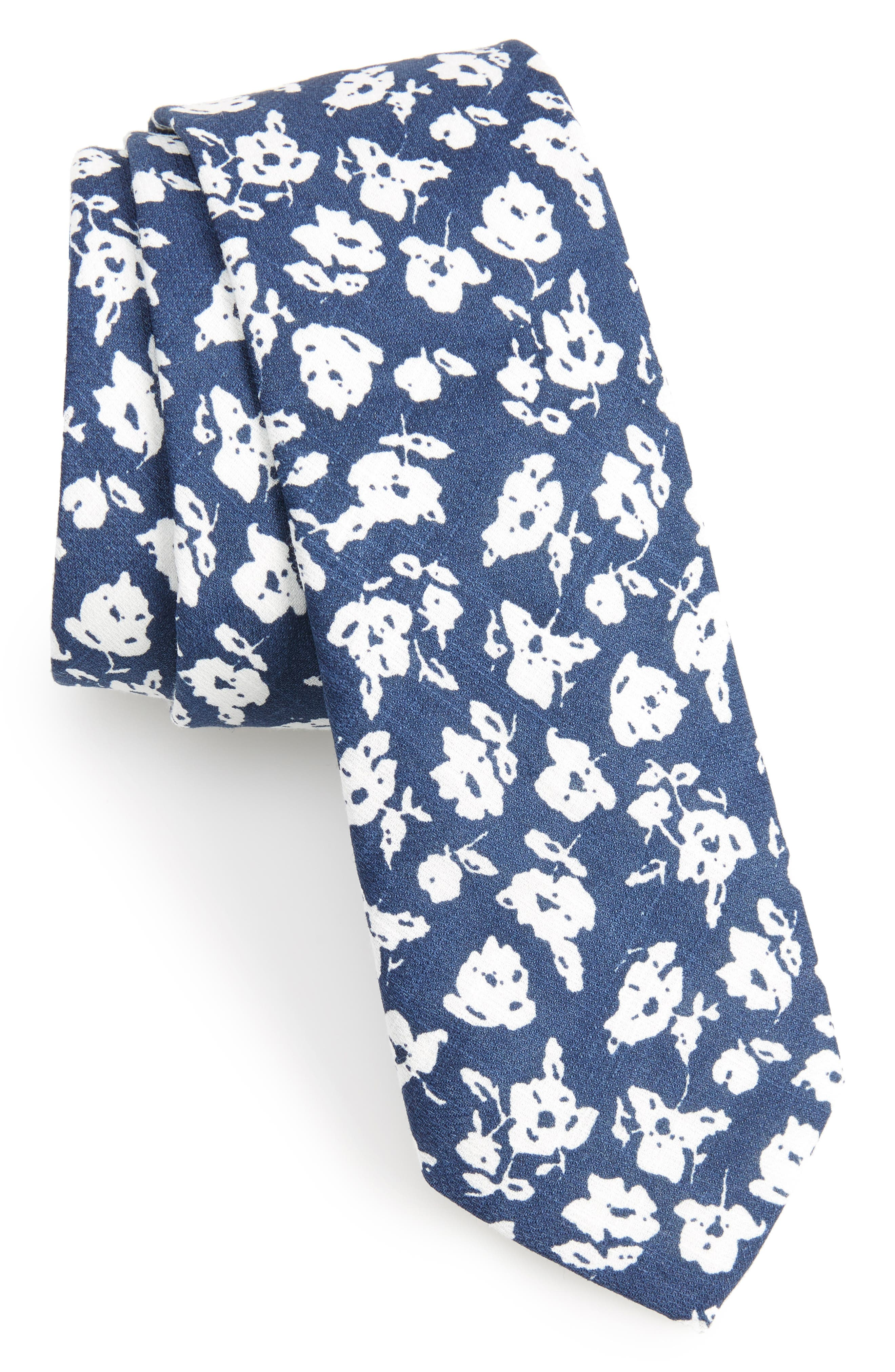 Jeb Floral Cotton Skinny Tie,                             Main thumbnail 1, color,                             Navy