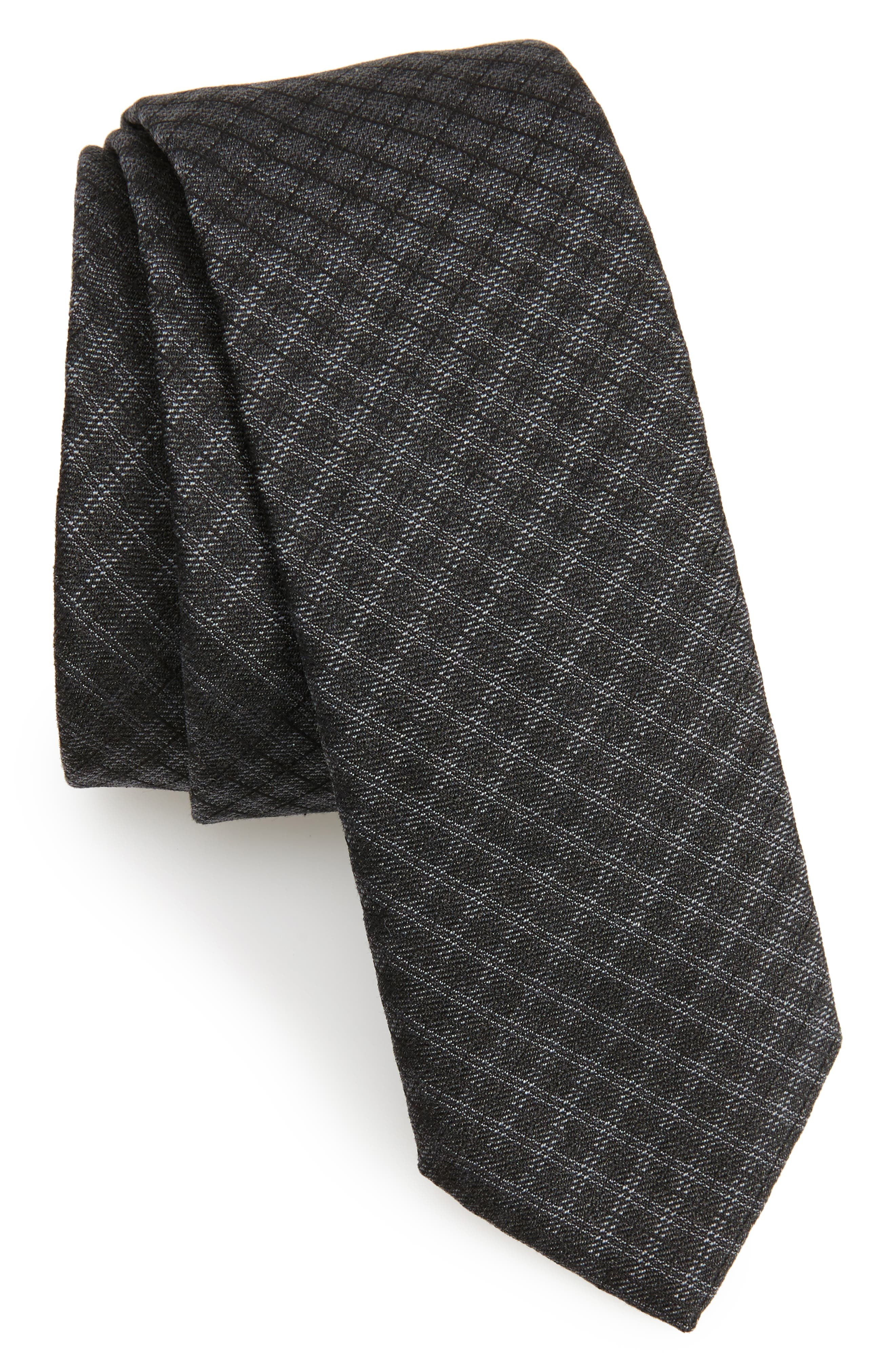 Main Image - BOSS Tonal Check Silk Skinny Tie