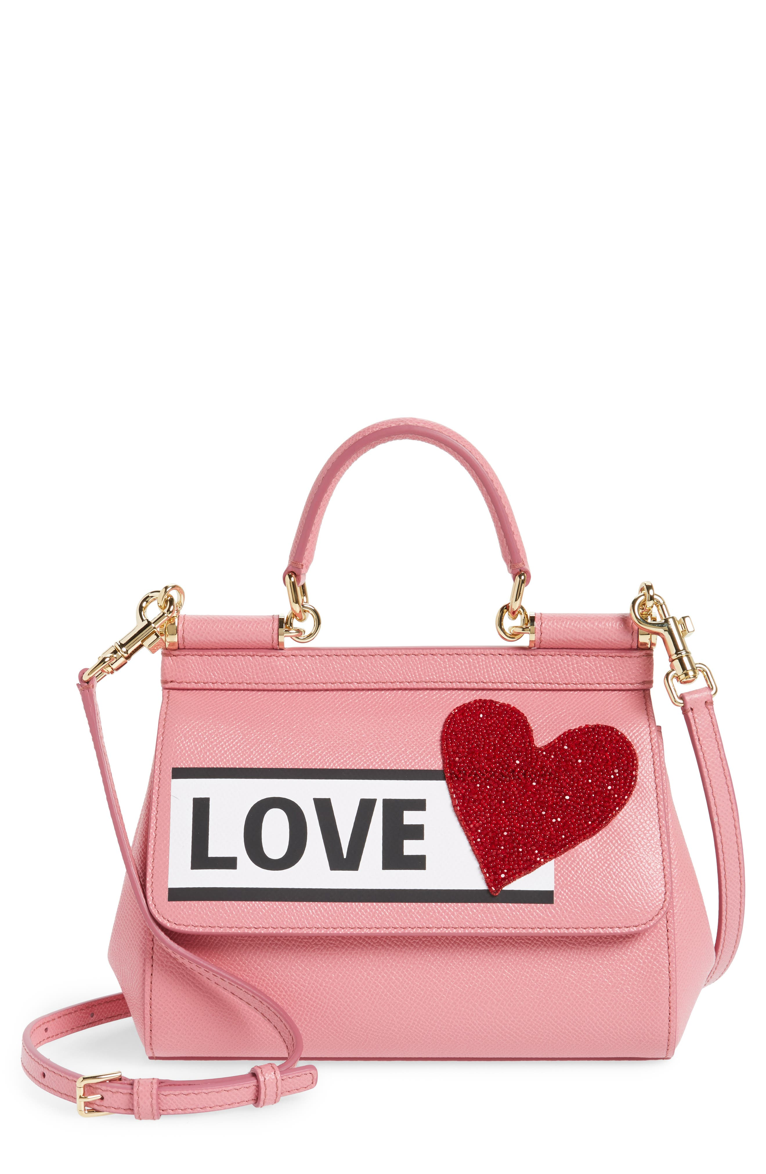 Small Miss Sicily - Love Leather Satchel,                             Main thumbnail 1, color,                             Rosa Intenso