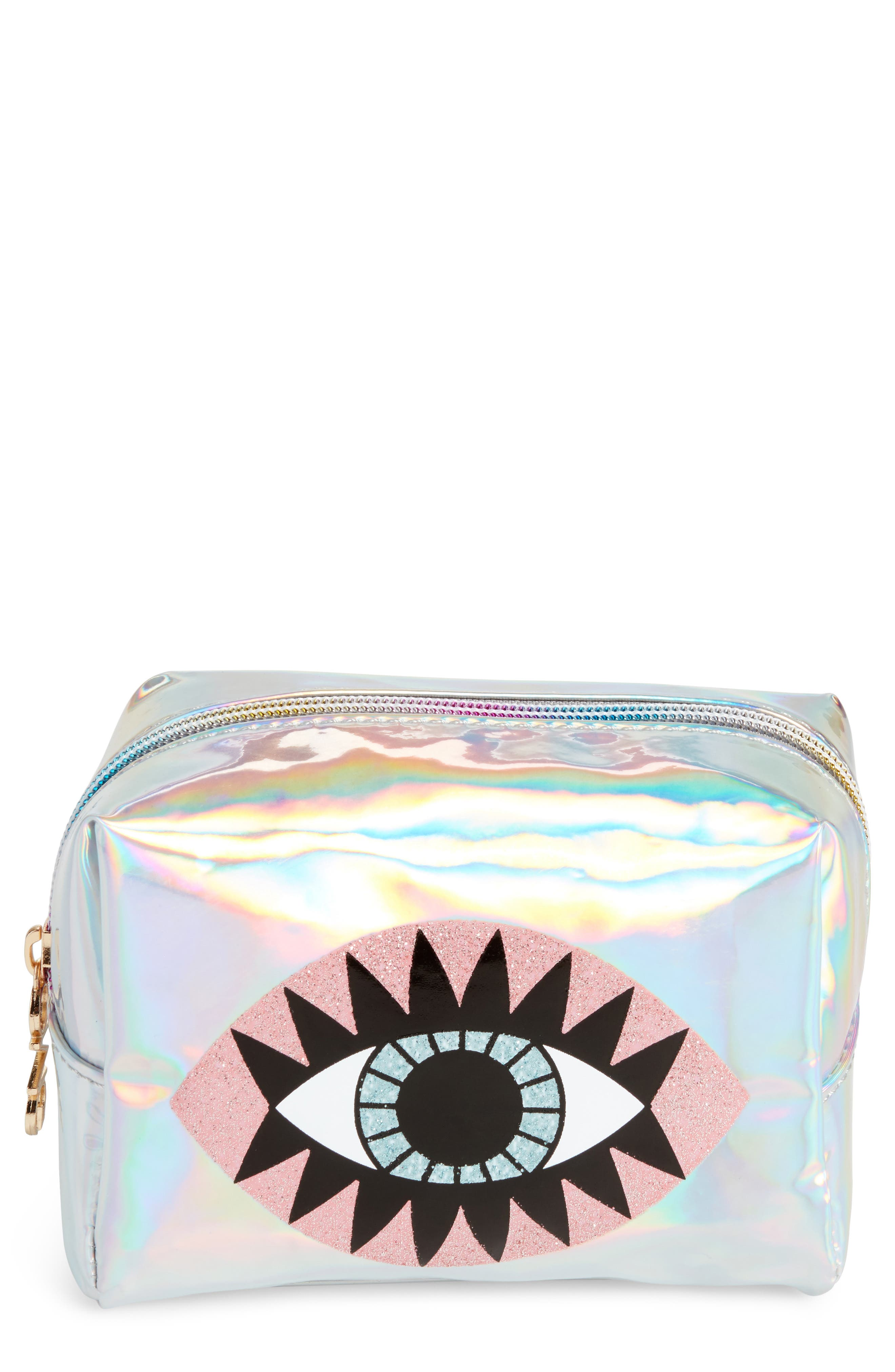 Glitter Eye Iridescent Cosmetics Bag,                         Main,                         color, Silver