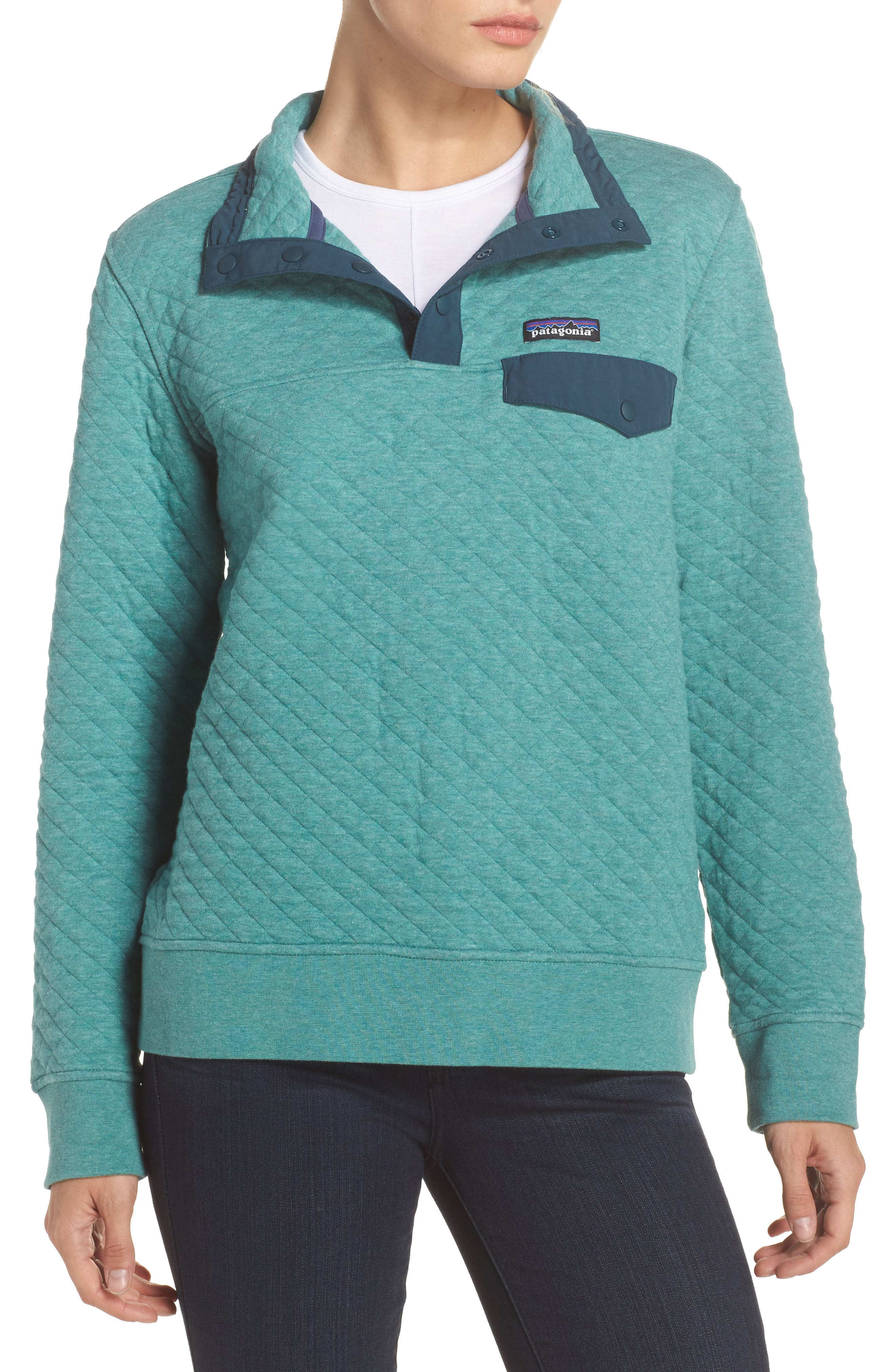 Snap-T<sup>®</sup> Quilted Pullover,                         Main,                         color, Beryl Green