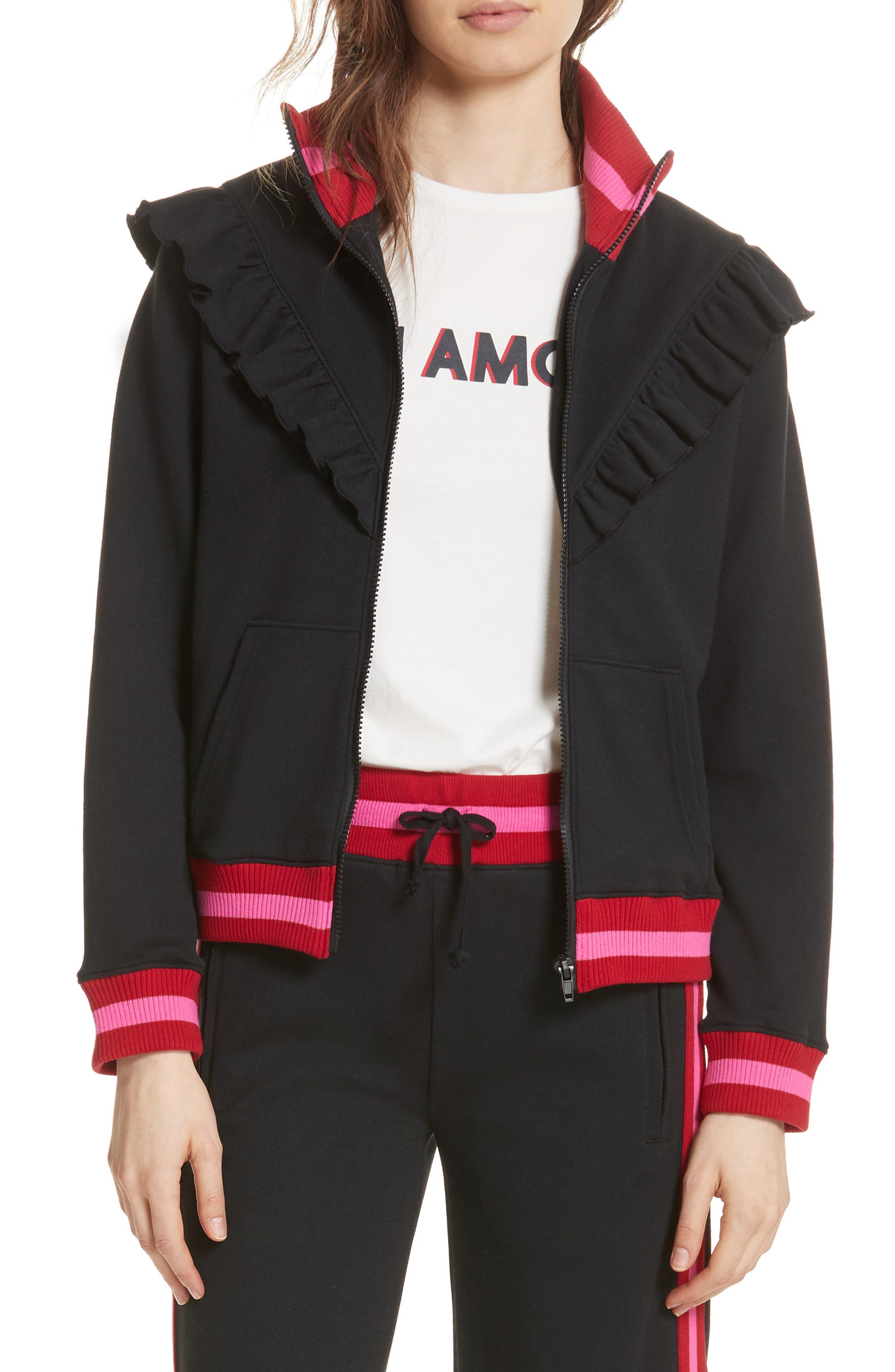 Deetra Rib Knit Trim Jacket,                         Main,                         color, Caviar