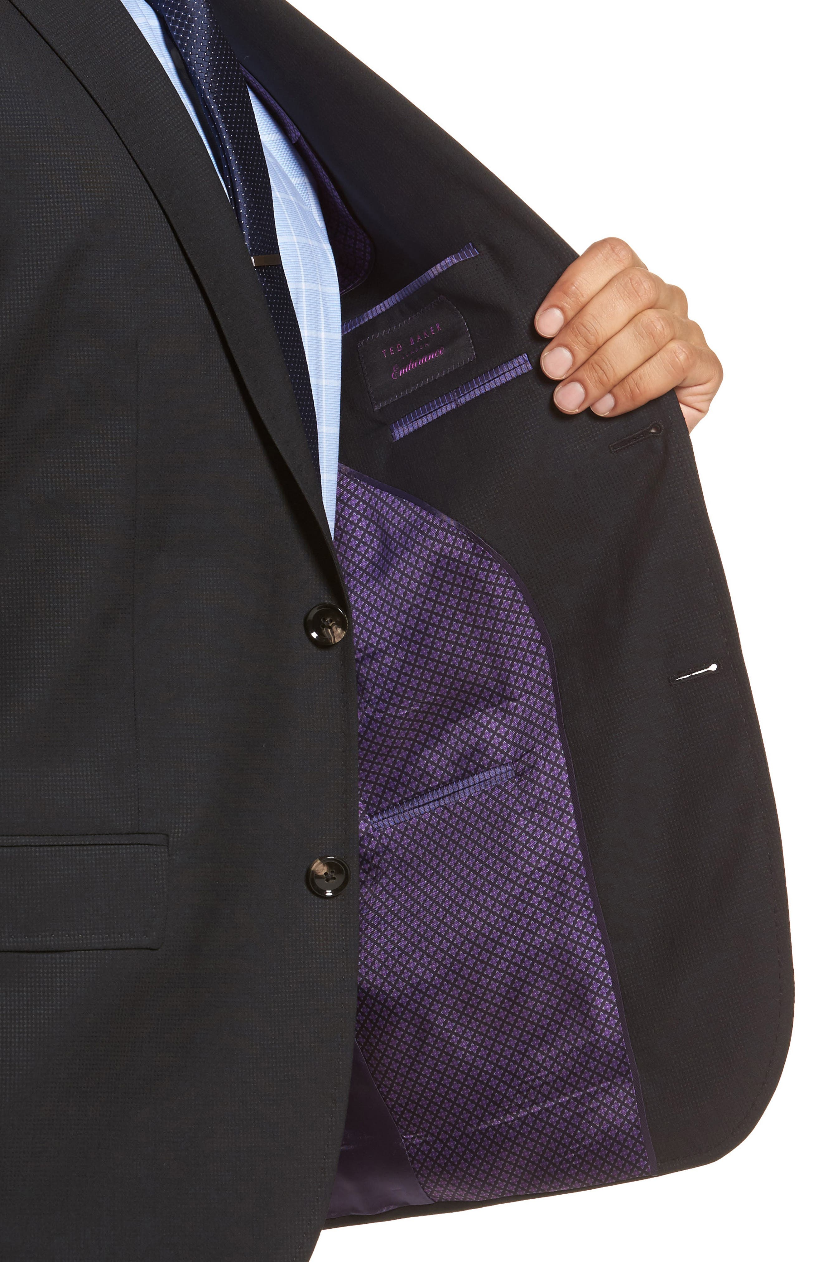 Roger Extra Slim Fit Solid Wool Suit,                             Alternate thumbnail 4, color,                             Black