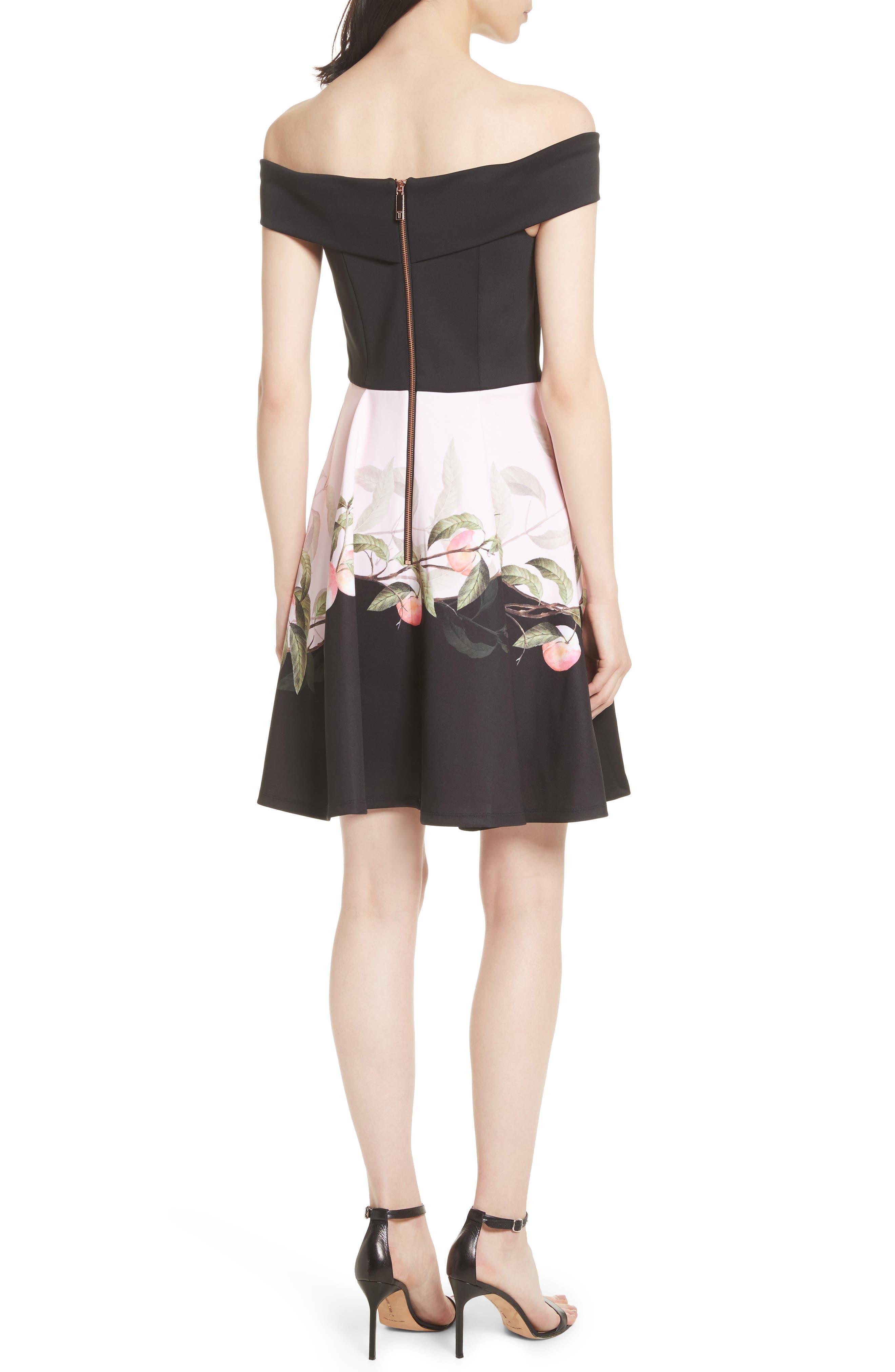 Peach Blossom Off the Shoulder Dress,                             Alternate thumbnail 2, color,                             Black