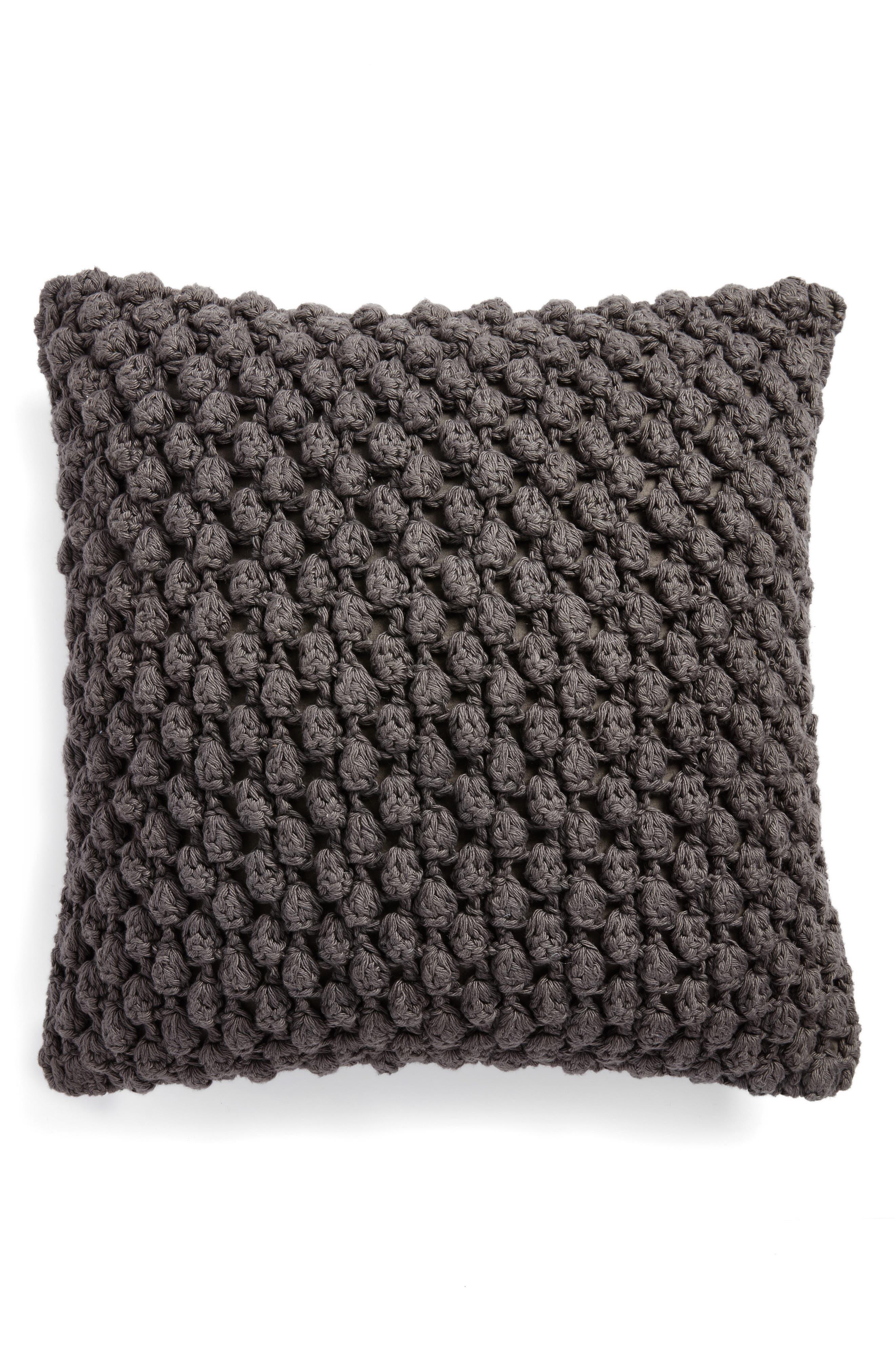 Pebble Knit Accent Pillow,                             Main thumbnail 1, color,                             Grey Onyx