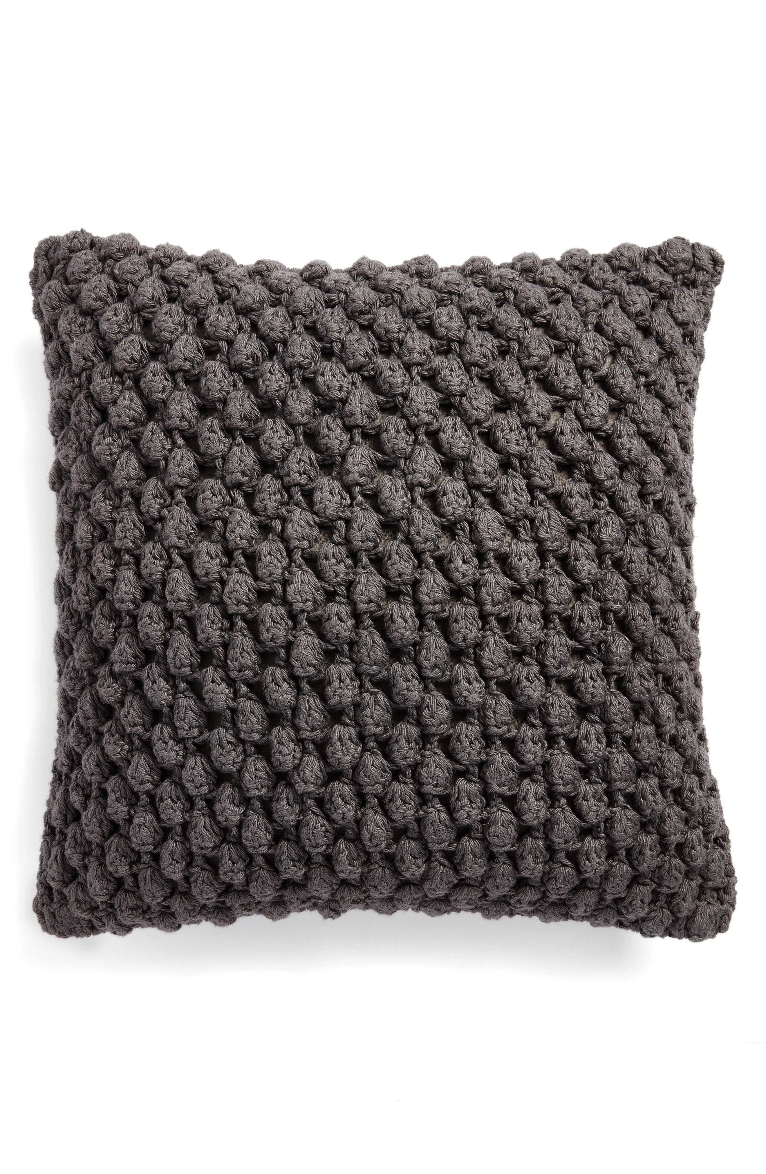 Pebble Knit Accent Pillow,                         Main,                         color, Grey Onyx