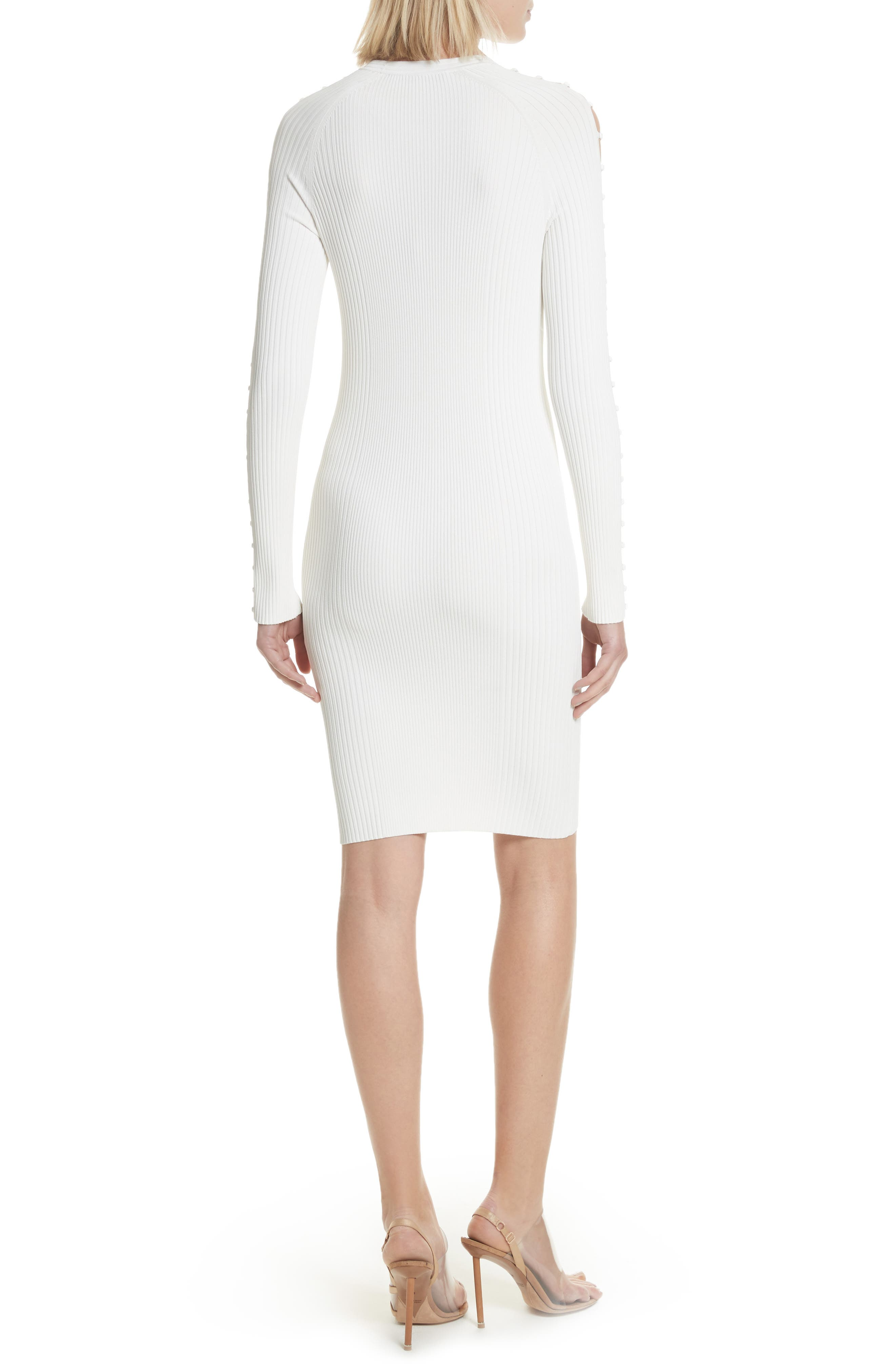 Bra Strap Sleeve Body-Con Dress,                             Alternate thumbnail 2, color,                             Ivory