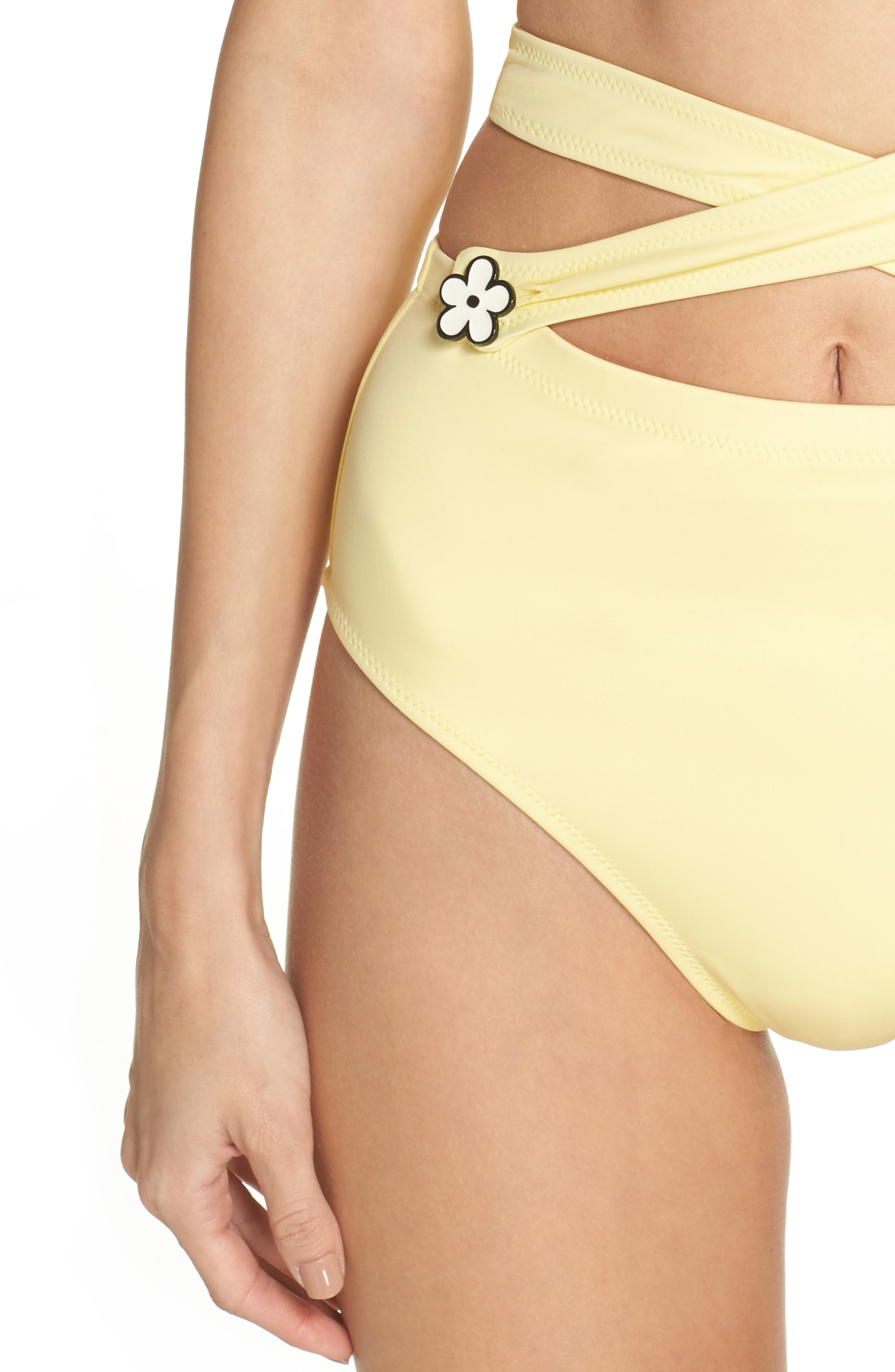 The Lauren Strappy One-Piece Swimsuit,                             Alternate thumbnail 4, color,                             Yellow