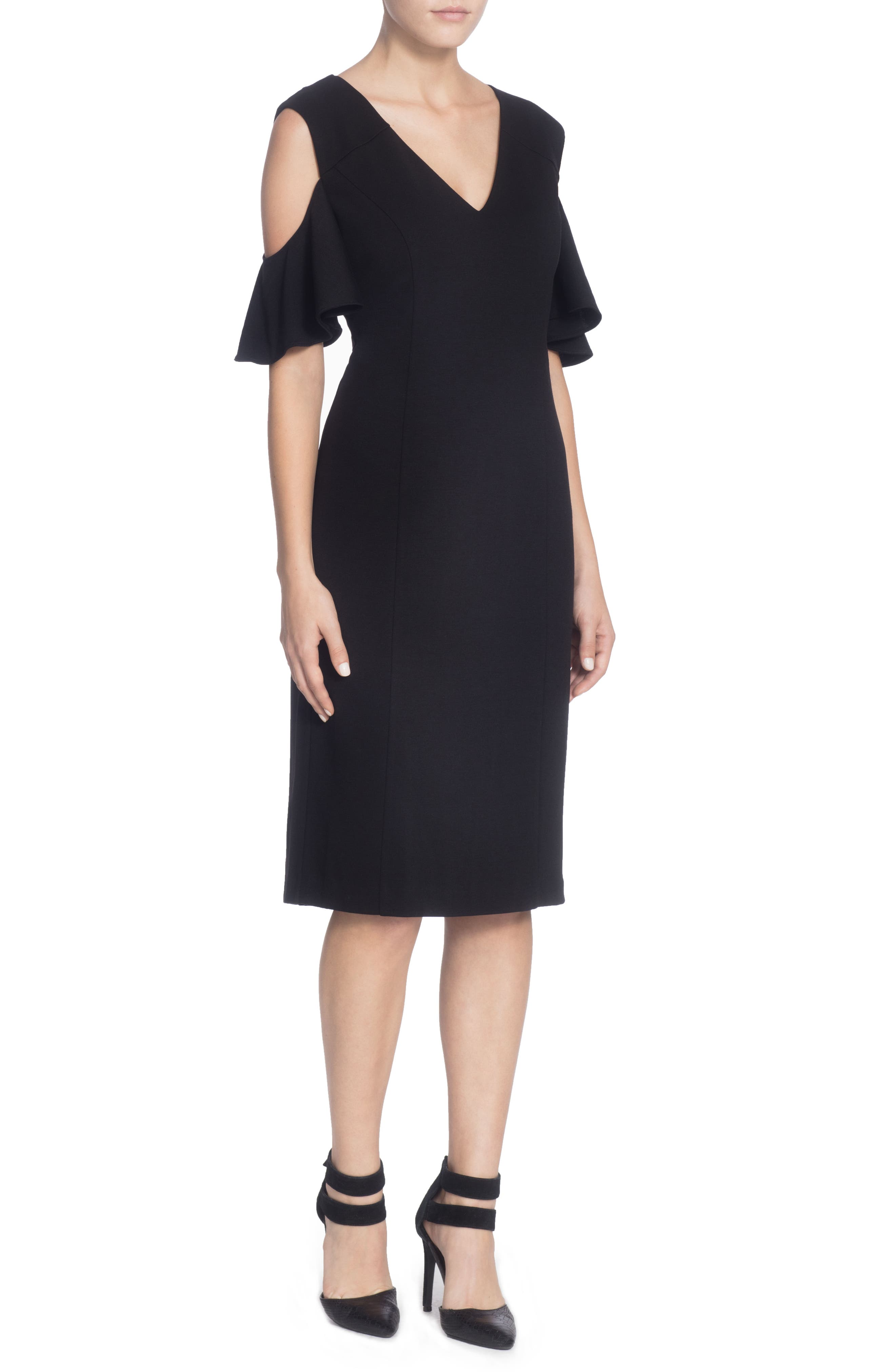 Liss Cold Shoulder Sheath Dress,                         Main,                         color, Black