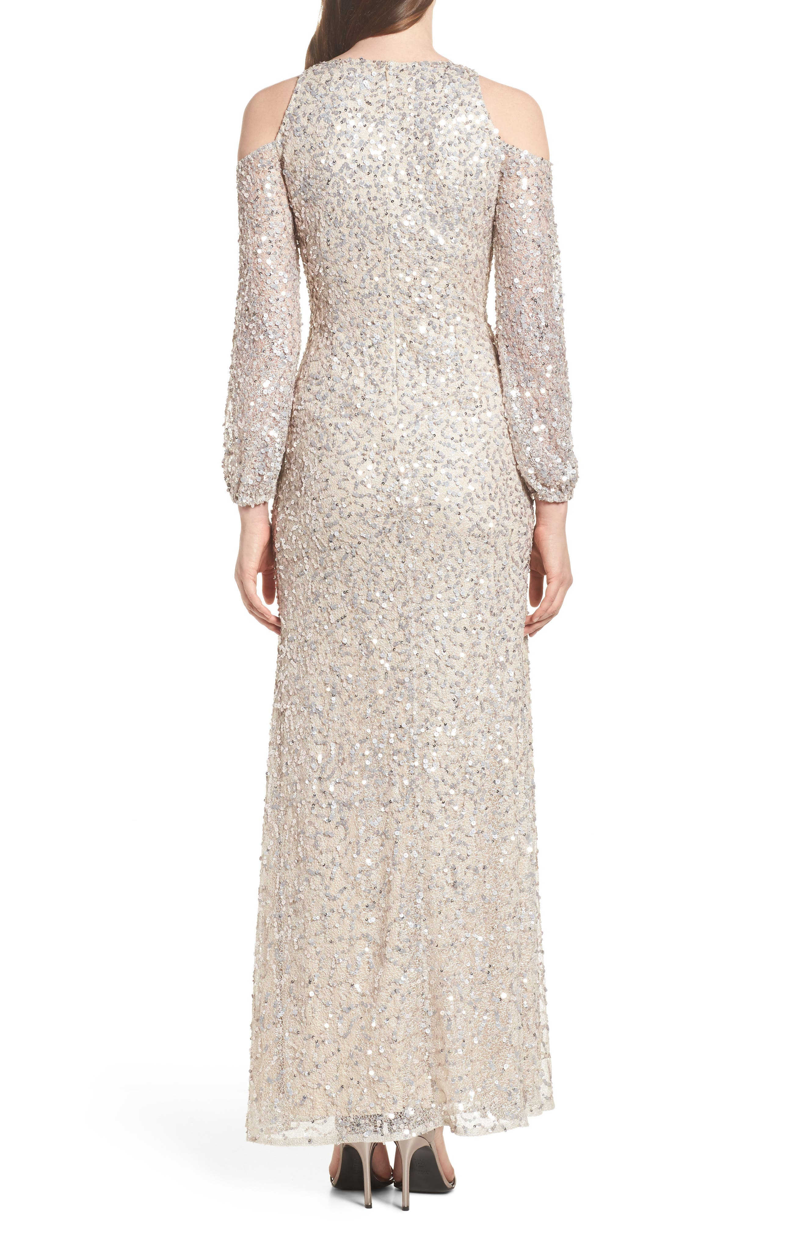 Alternate Image 2  - Adrianna Papell Sequin Cold Shoulder Gown