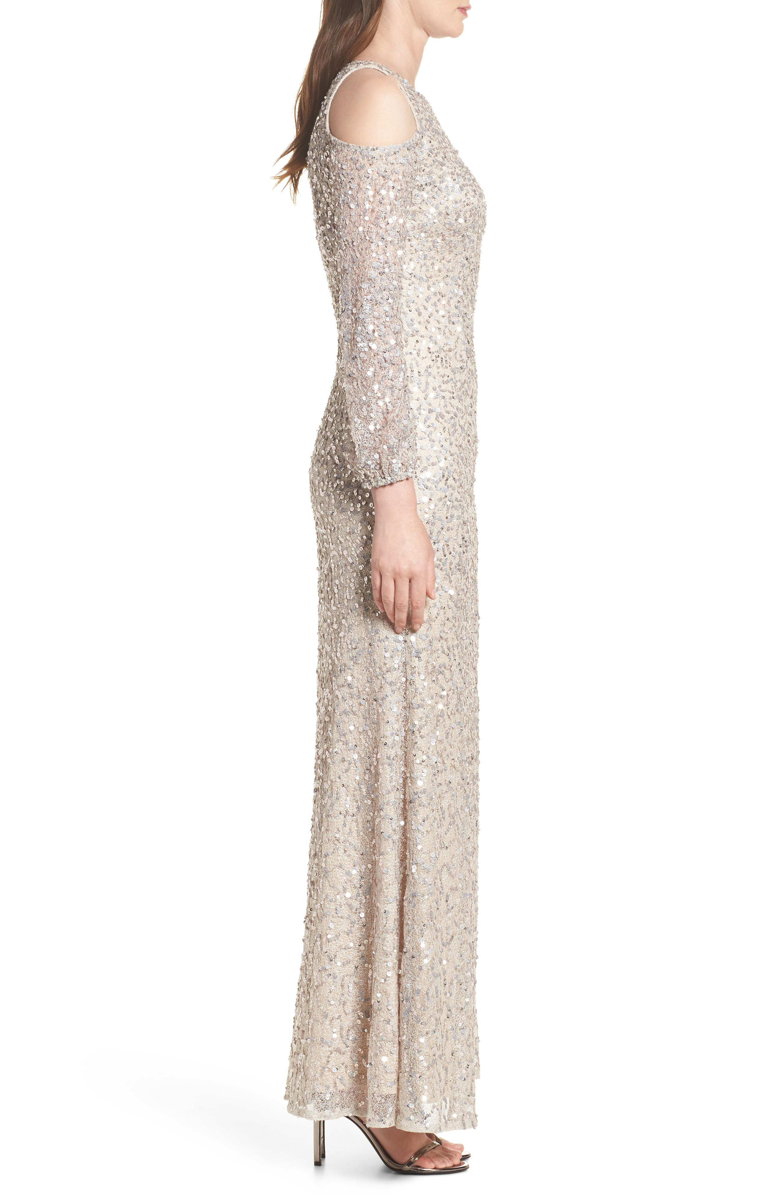 Alternate Image 3  - Adrianna Papell Sequin Cold Shoulder Gown