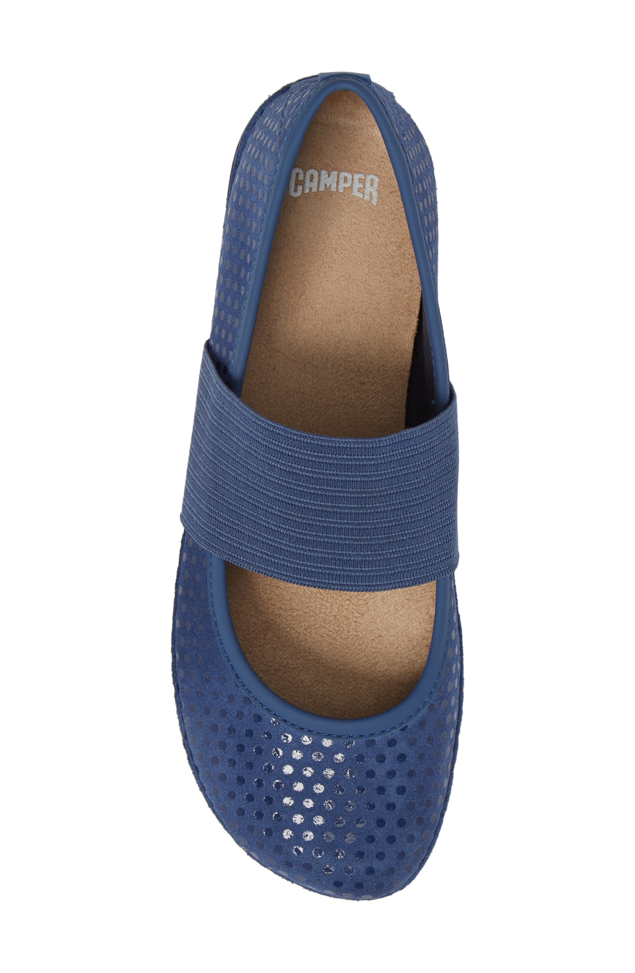 Right Nina Ballerina Flat,                             Alternate thumbnail 5, color,                             Medium Blue Nubuck