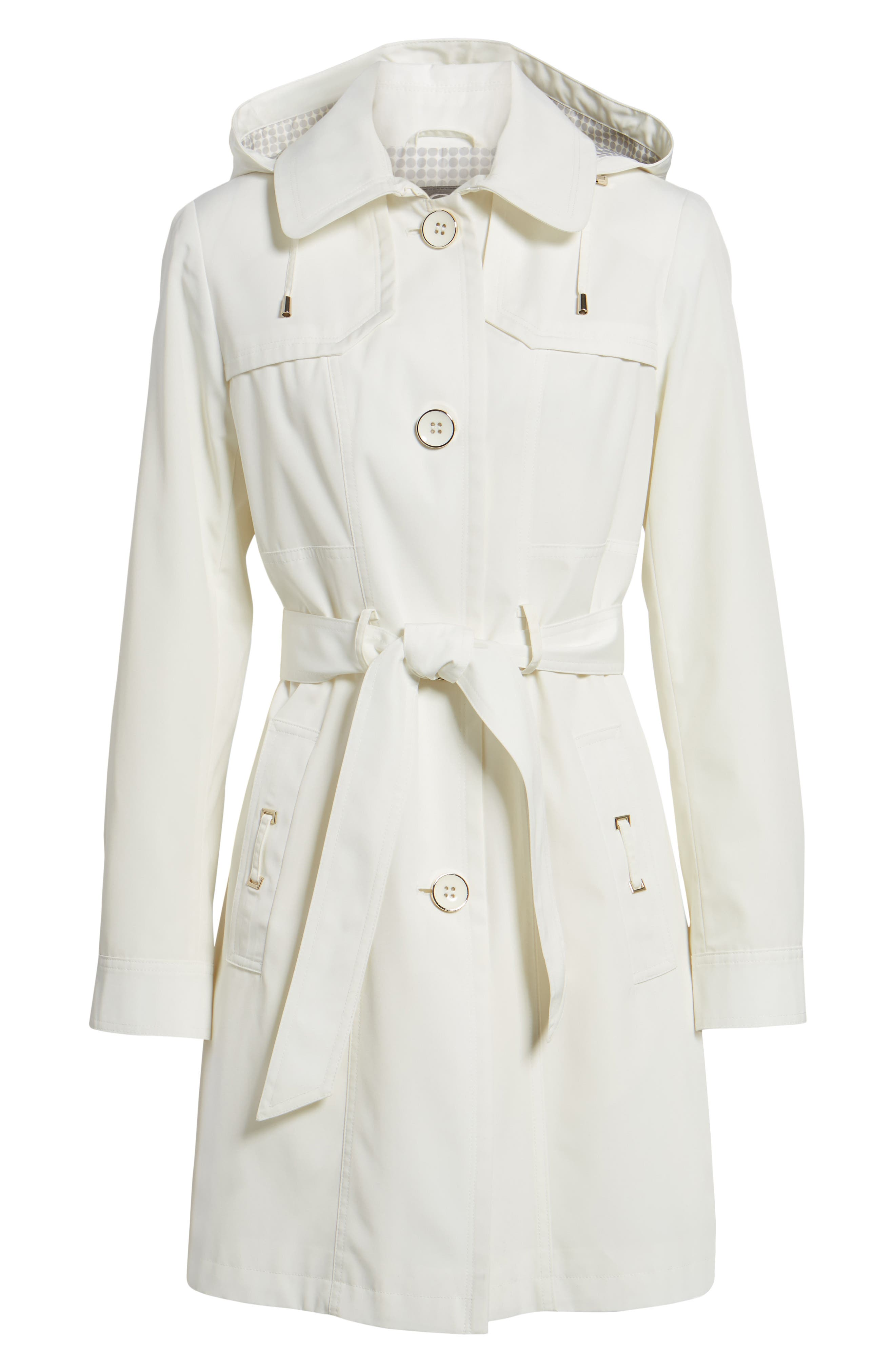 Belted Trench Raincoat,                             Alternate thumbnail 6, color,                             Vanilla