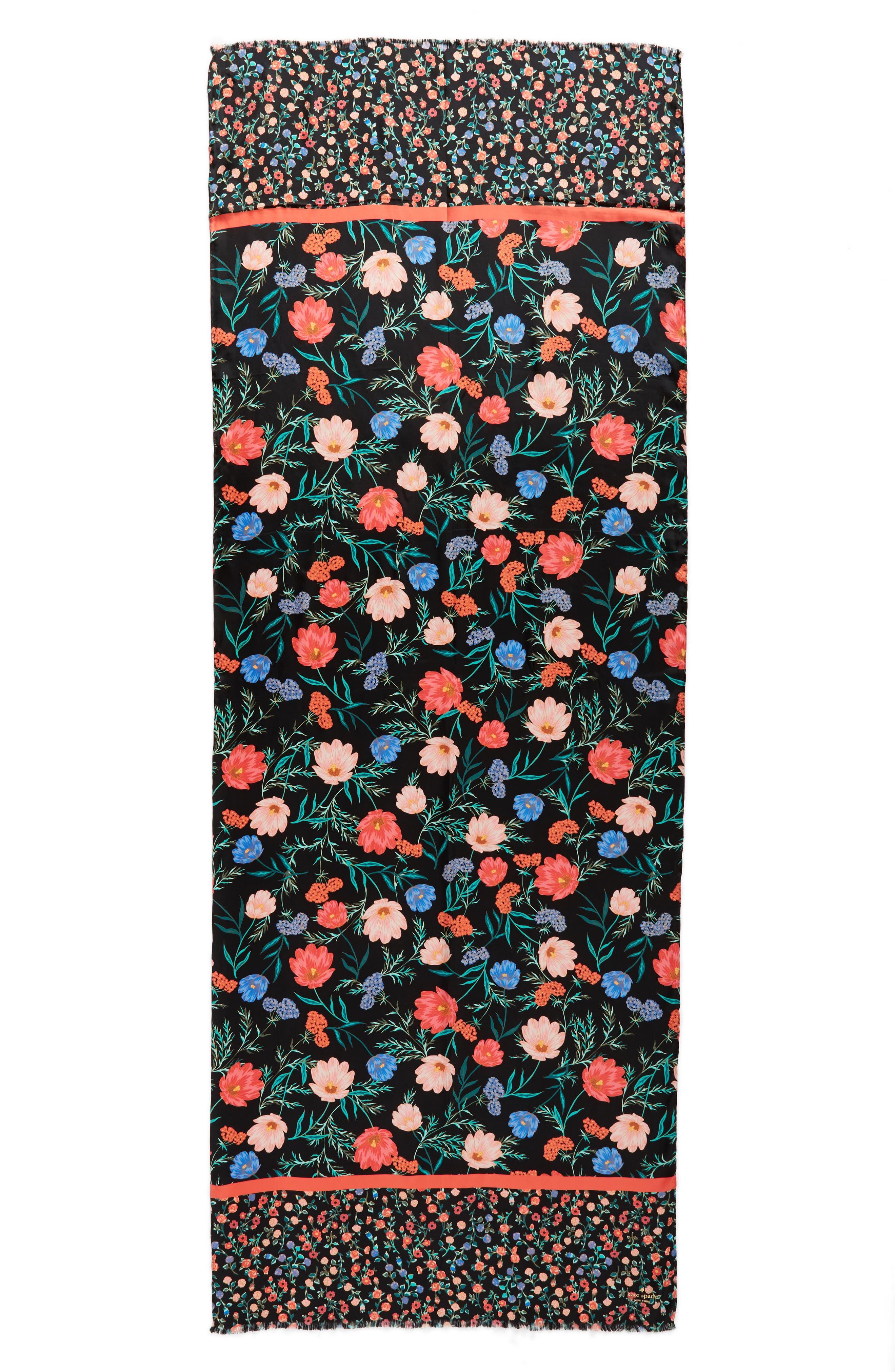 blossom silk scarf,                             Alternate thumbnail 2, color,                             Black