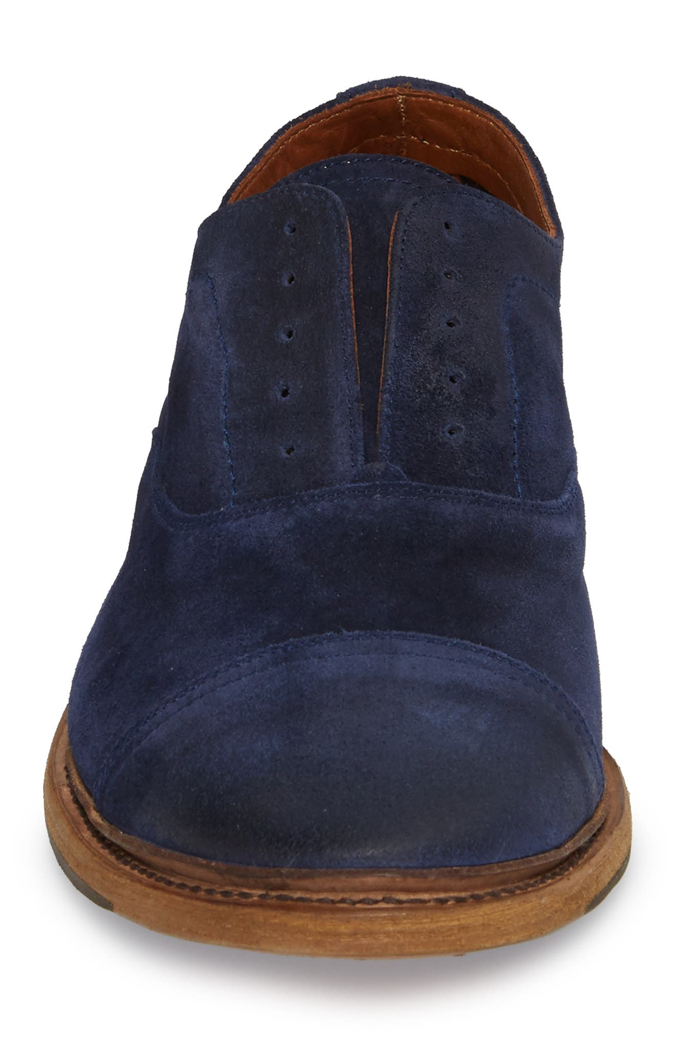 Paul Bal Cap Toe Oxford,                             Alternate thumbnail 4, color,                             Navy Suede