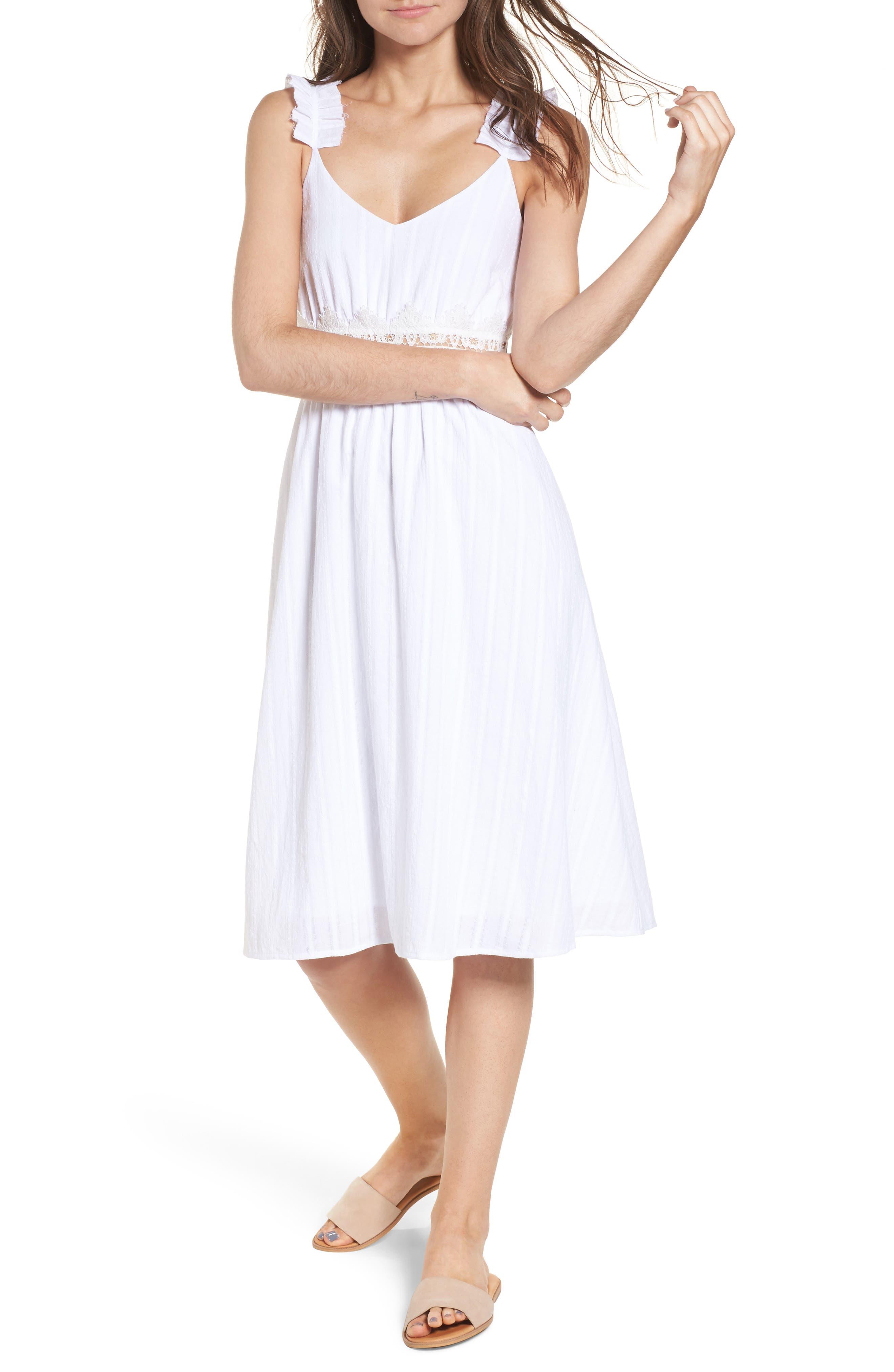 Lace Inset Cotton Dress,                         Main,                         color, White