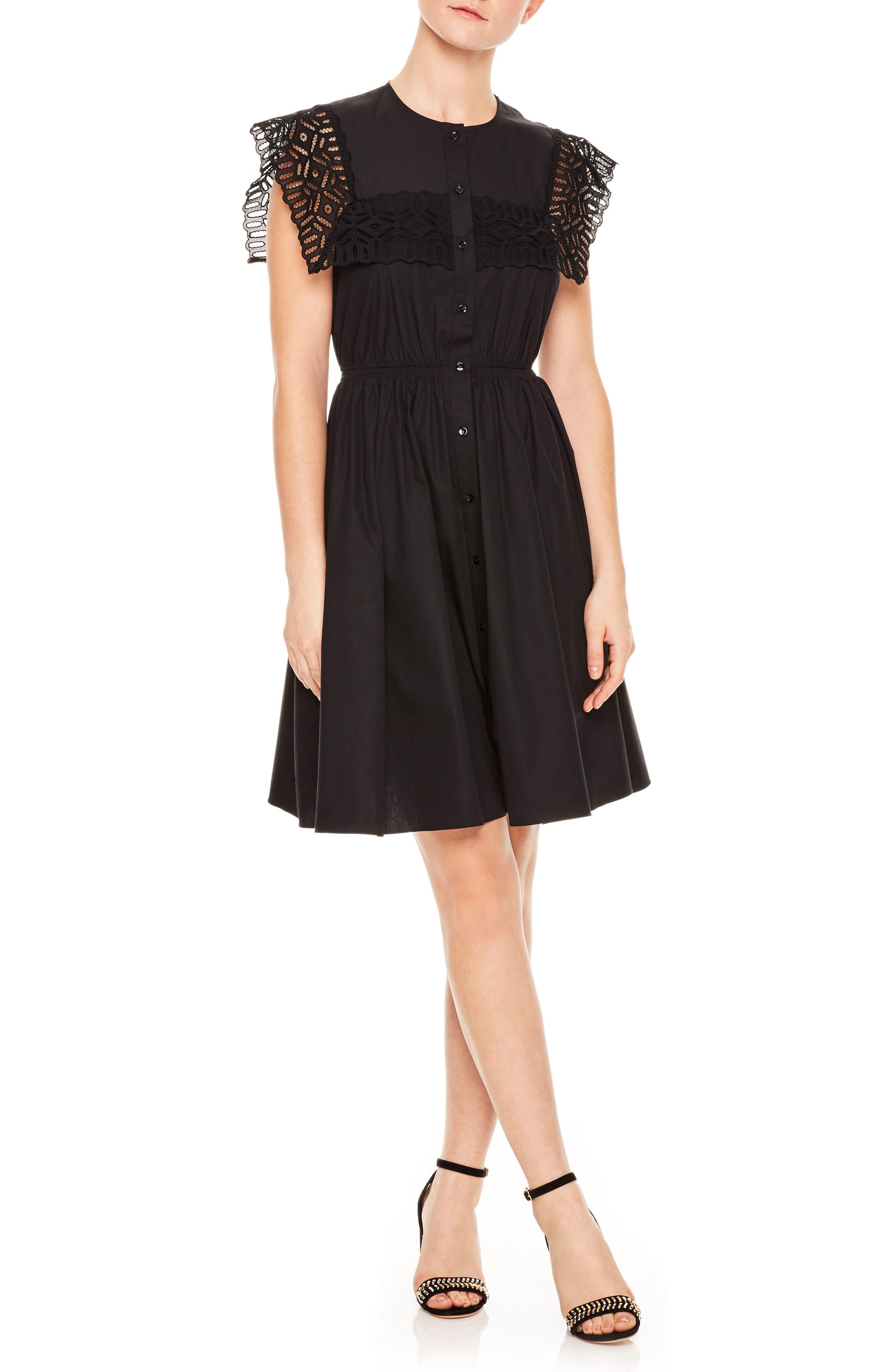 Noir Lace Popover Mini Dress,                             Main thumbnail 1, color,                             Black