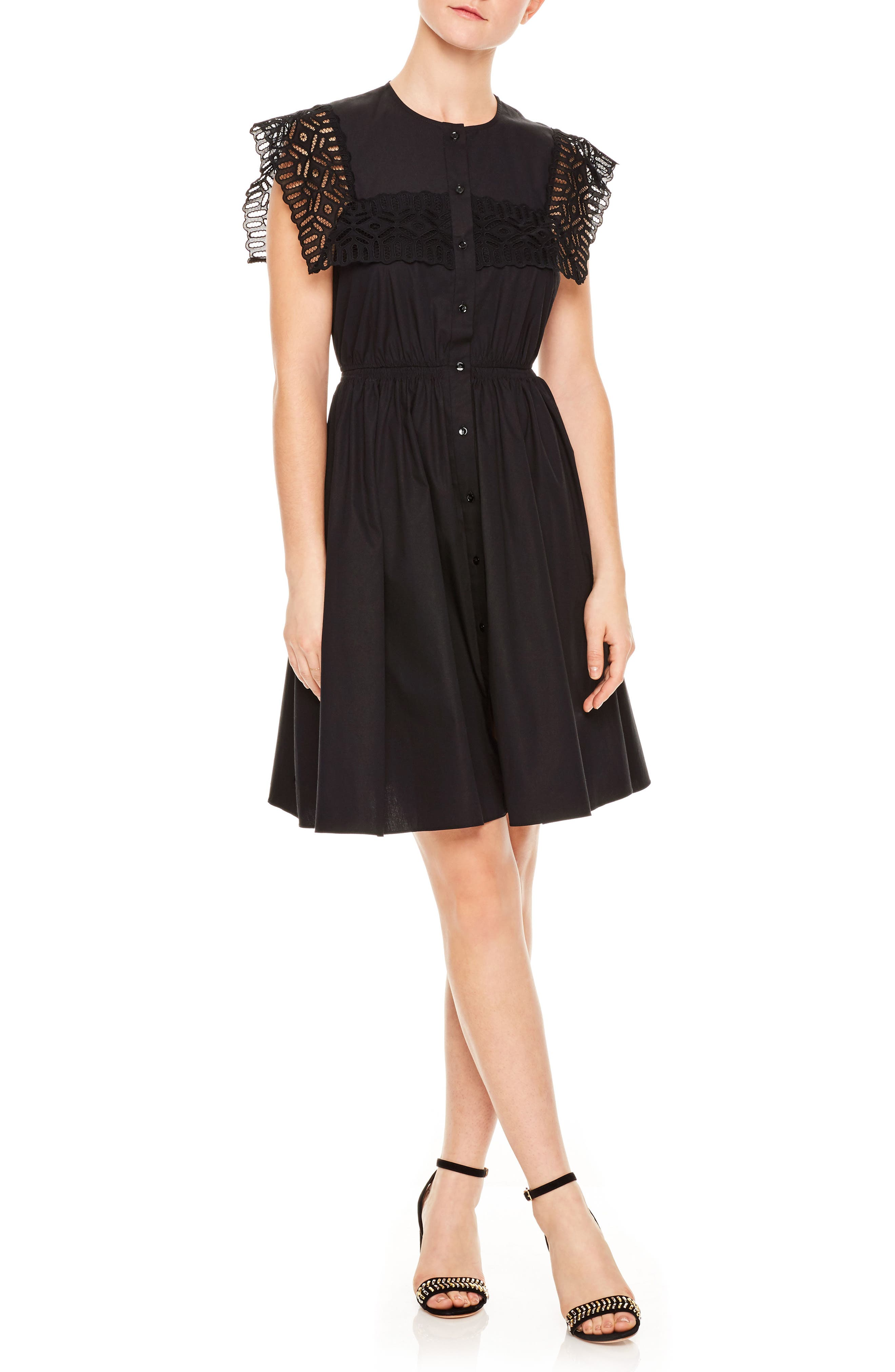 sandro Noir Lace Popover Mini Dress