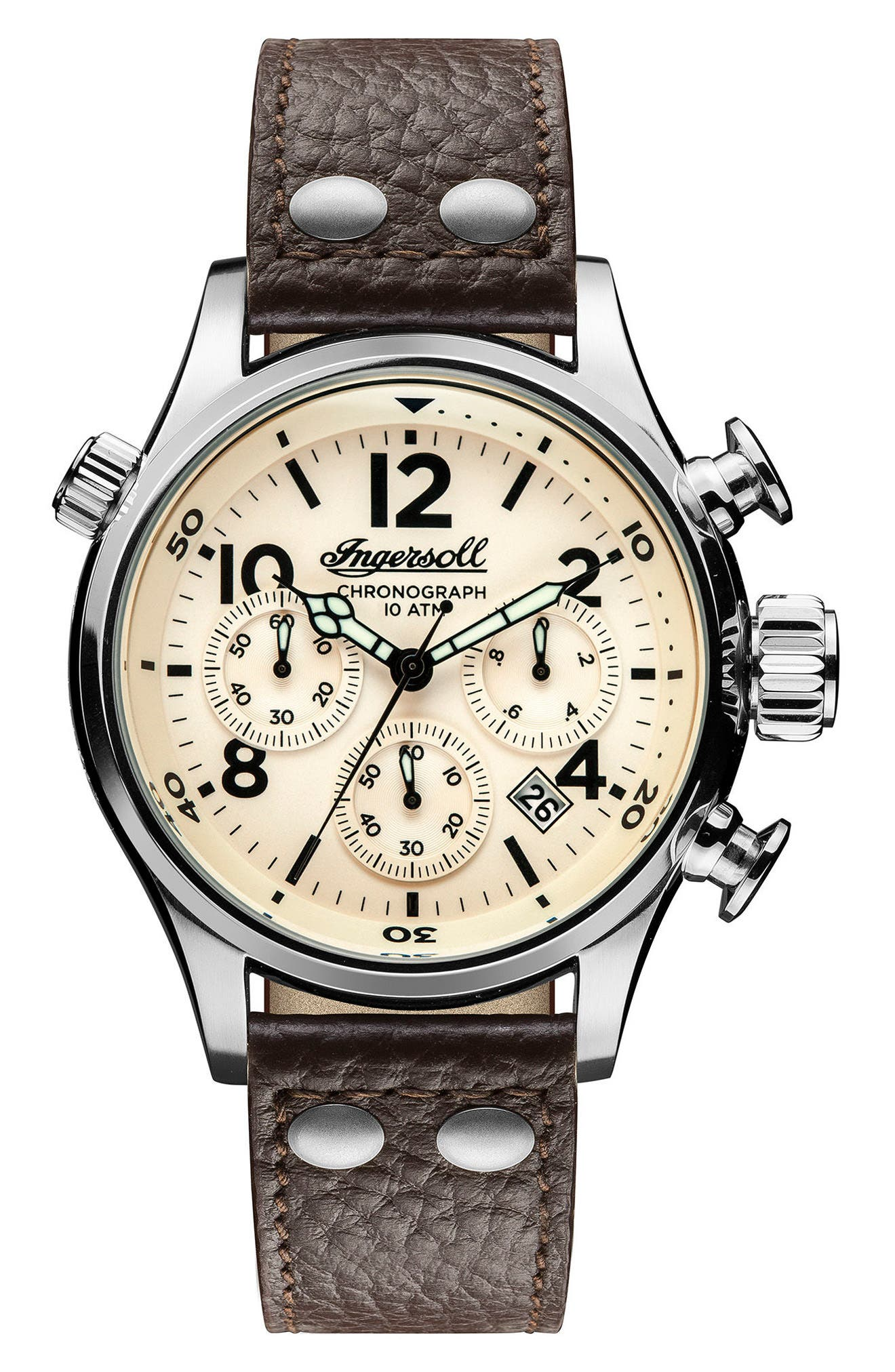 Ingersoll Chronograph Leather Strap Watch, 46mm,                         Main,                         color, Black/ Beige/ Silver