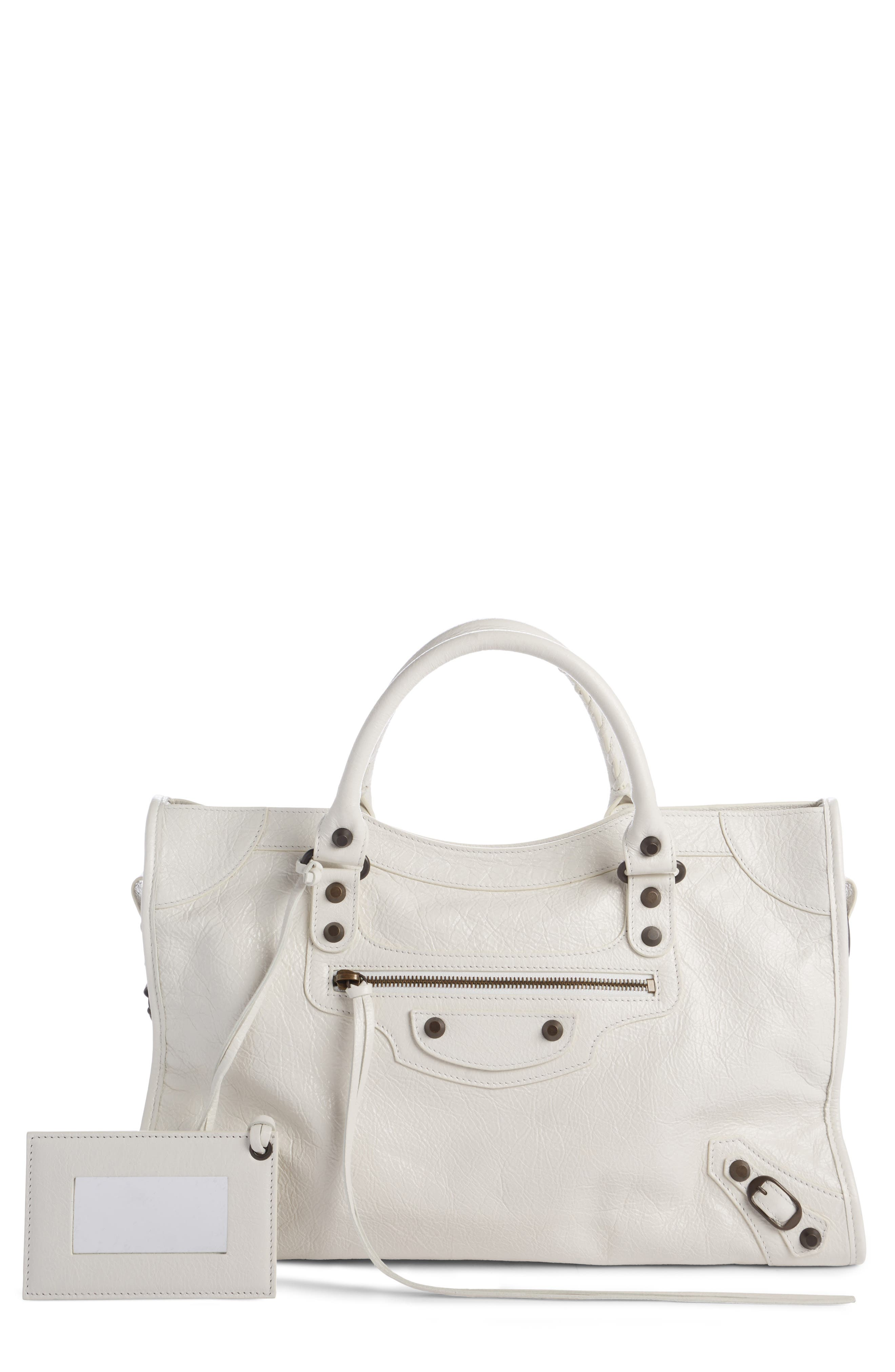 Classic City Leather Tote,                         Main,                         color, Blanc Clair