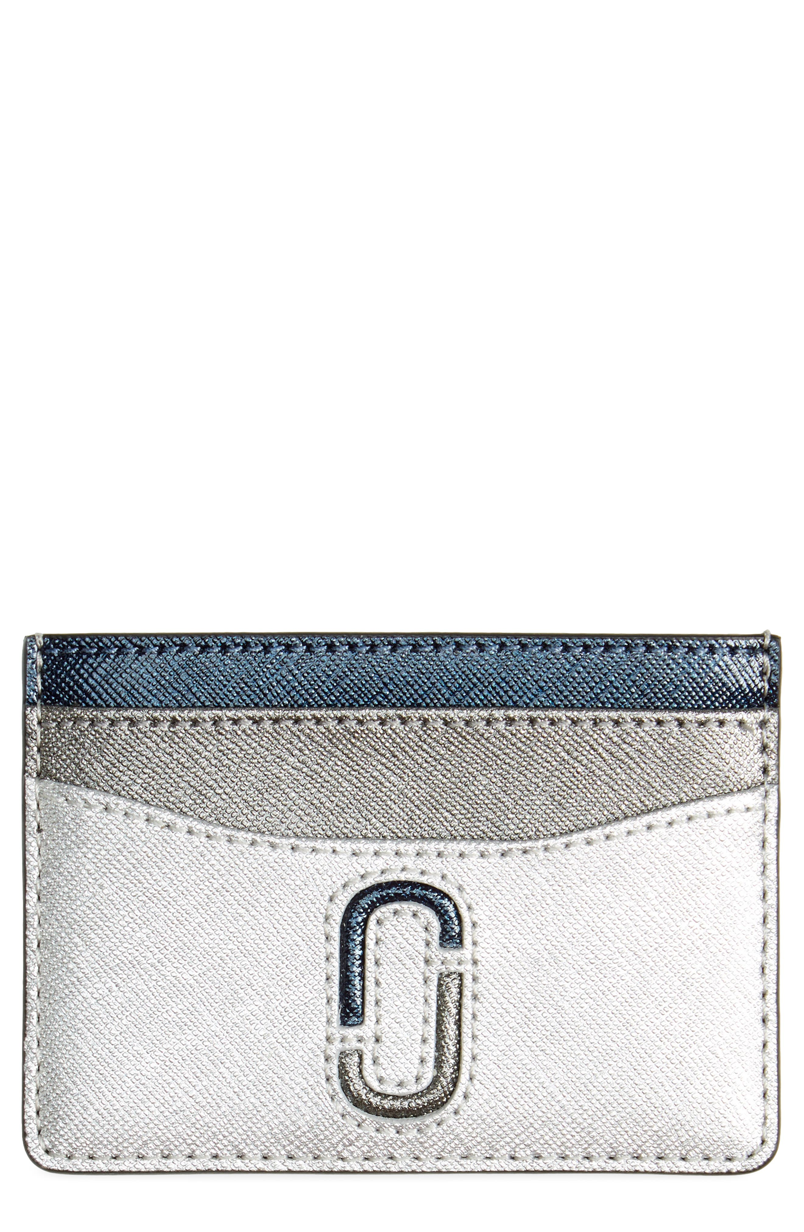 Snapshot Saffiano Leather Card Case,                         Main,                         color, Silver Multi