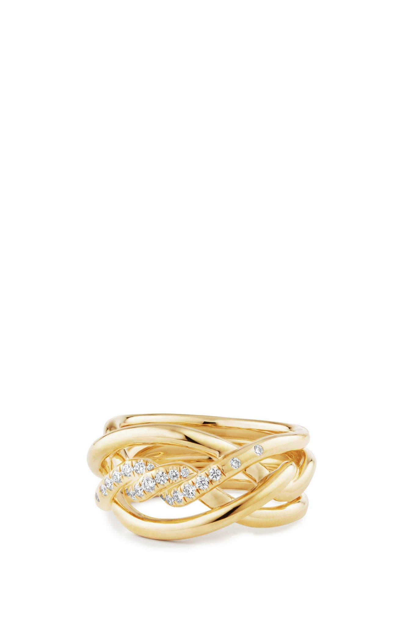Main Image - David Yurman Continuance Ring with Diamonds in 18K Gold, 11.5mm