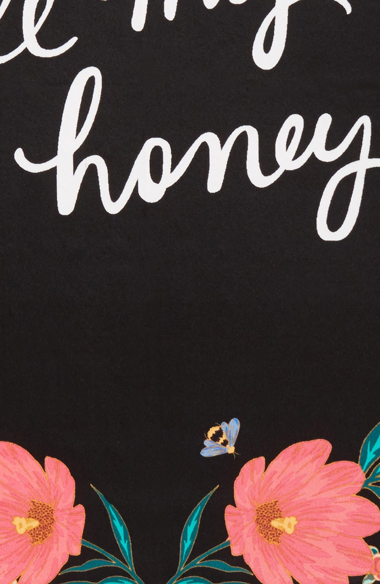 bee my honey silk bandana,                             Alternate thumbnail 4, color,                             Black