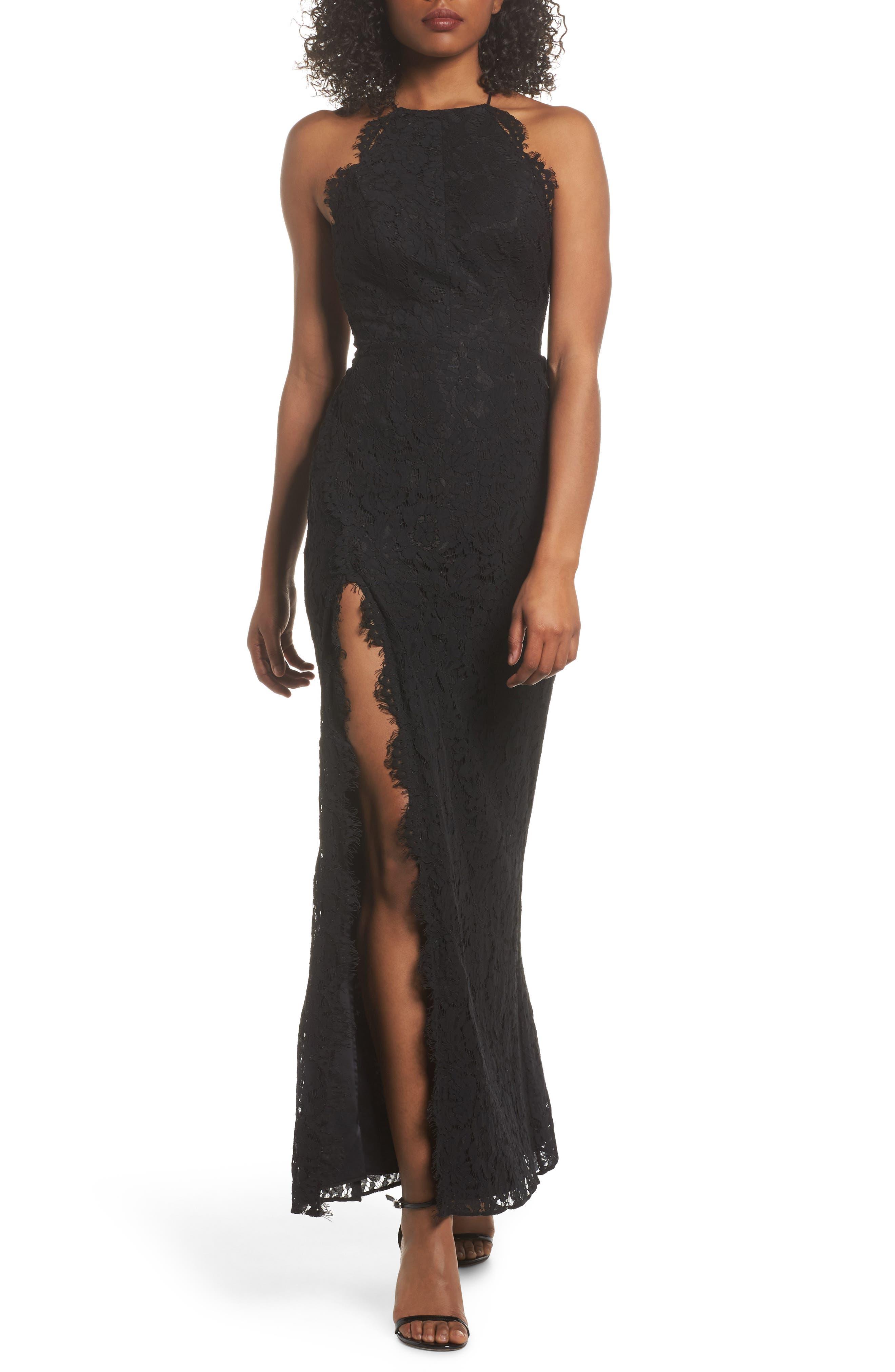 Dragon Eyes Lace Column Gown,                         Main,                         color, Black