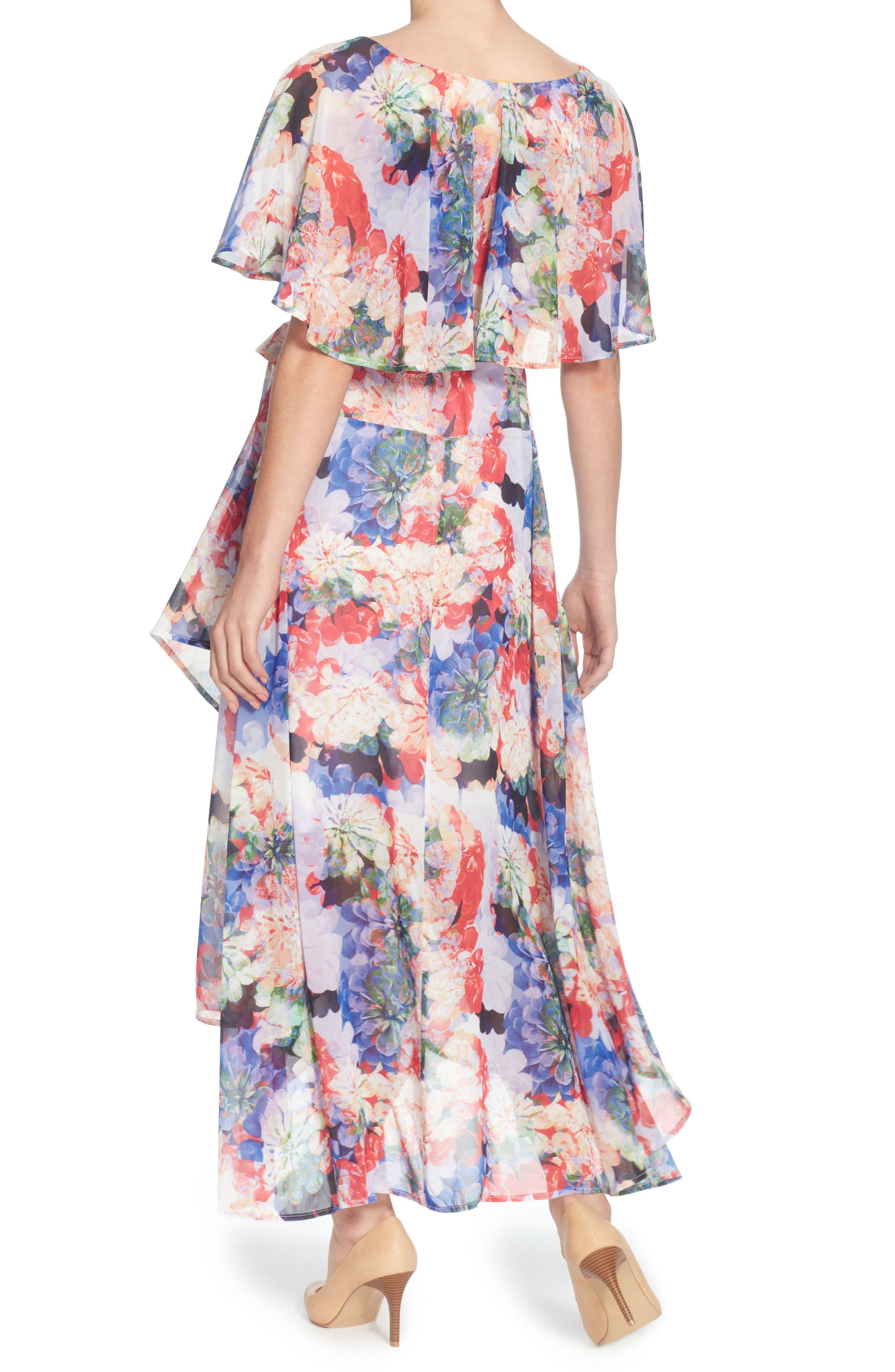 Jos Floral Capelet Wrap Dress,                             Alternate thumbnail 2, color,                             Spring Blooms