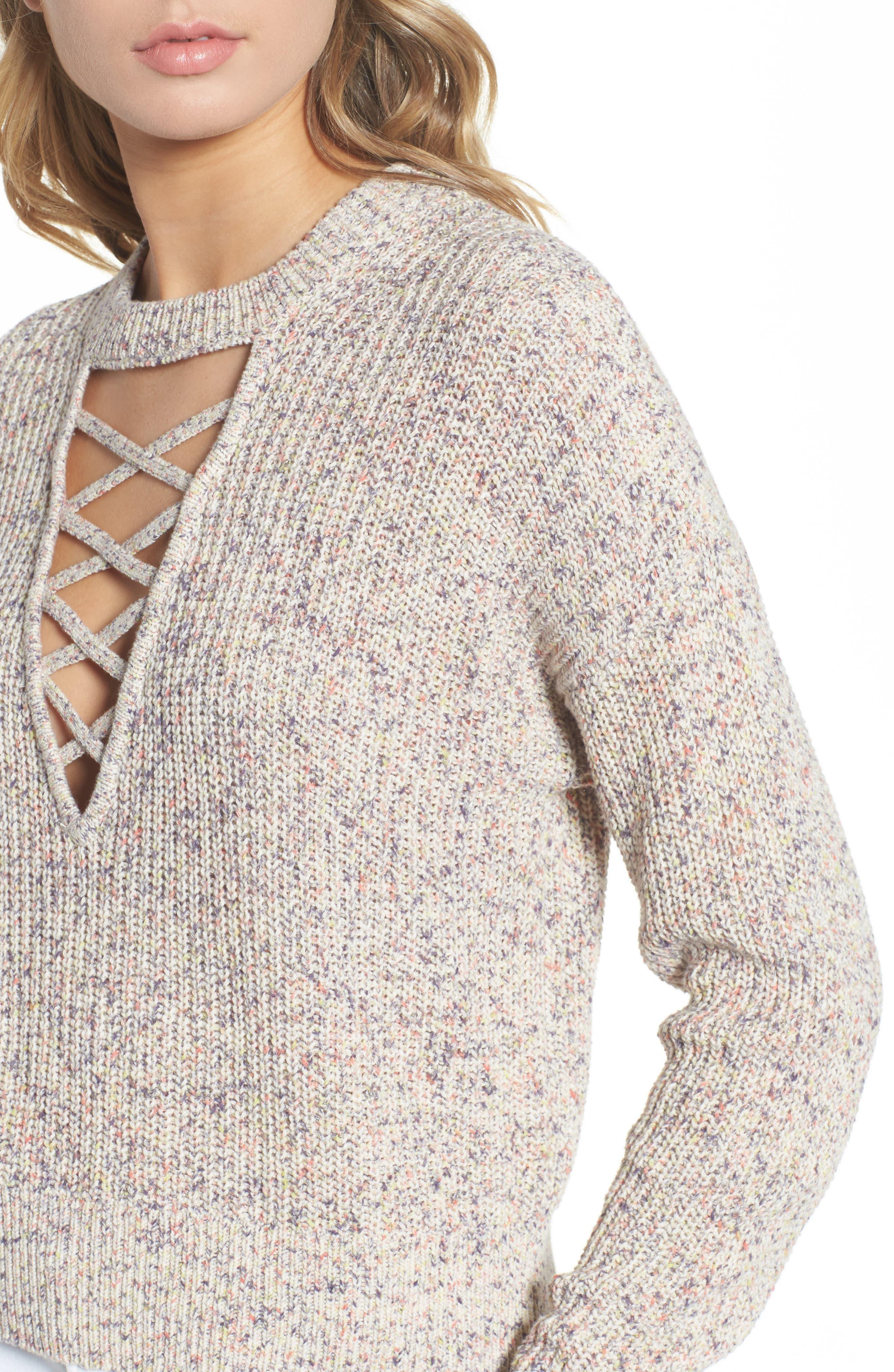 Plunging Crisscross Sweater,                             Alternate thumbnail 5, color,                             Glow Multi