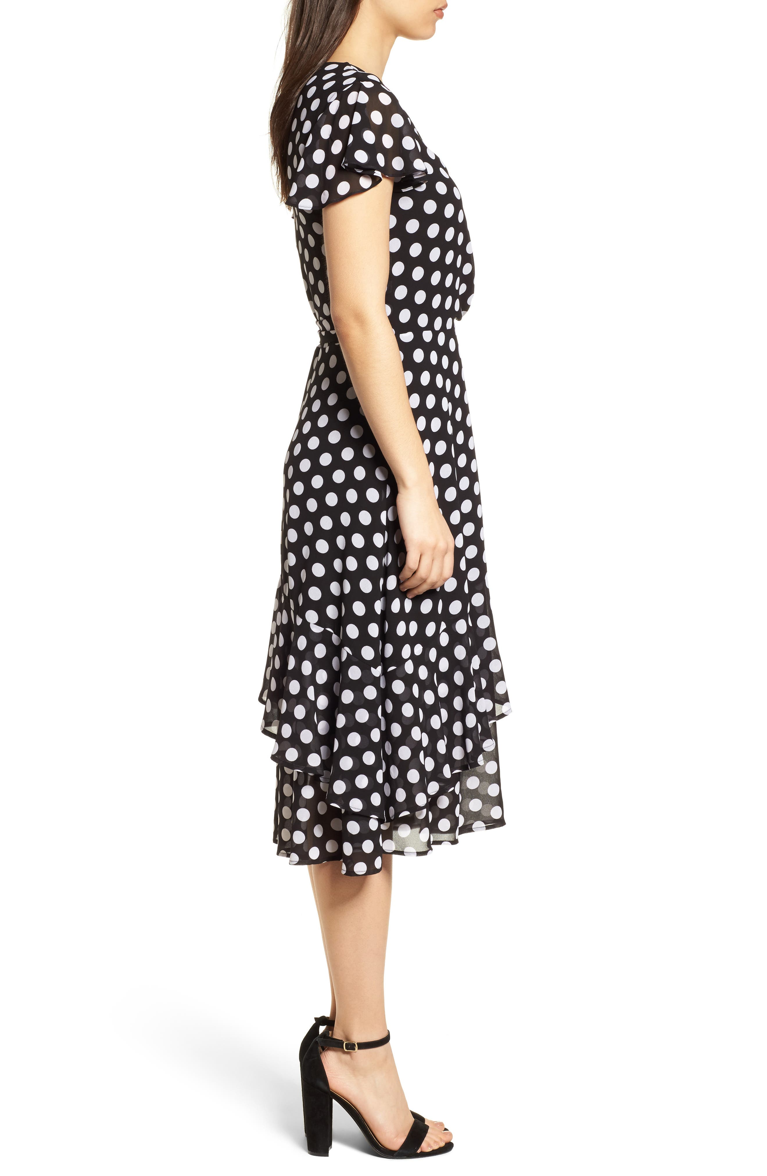 Simple Dot Wrap Dress,                             Alternate thumbnail 3, color,                             Black/ White