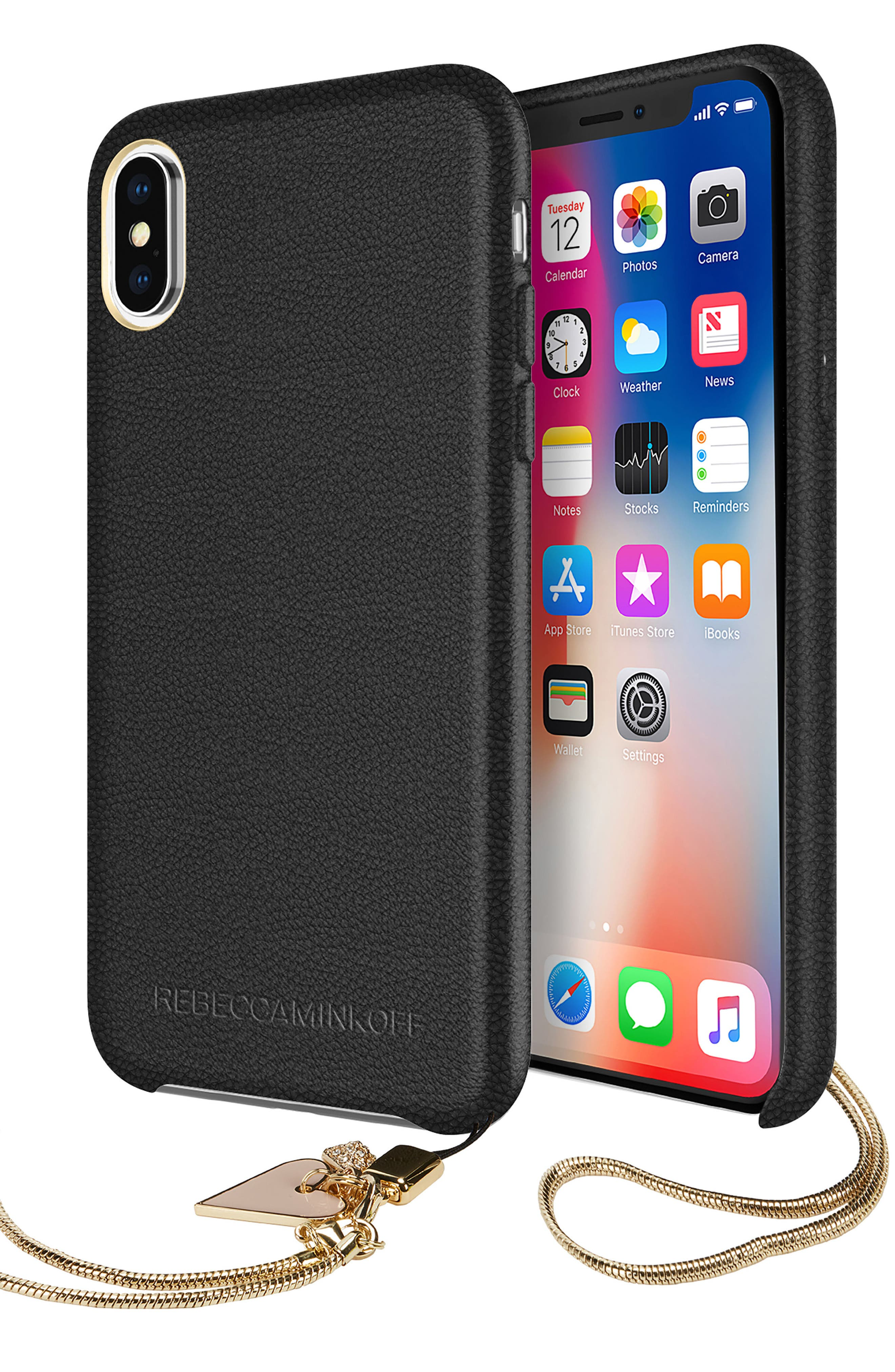 Leather iPhone X Wristlet Case with Charms,                             Alternate thumbnail 4, color,                             Black